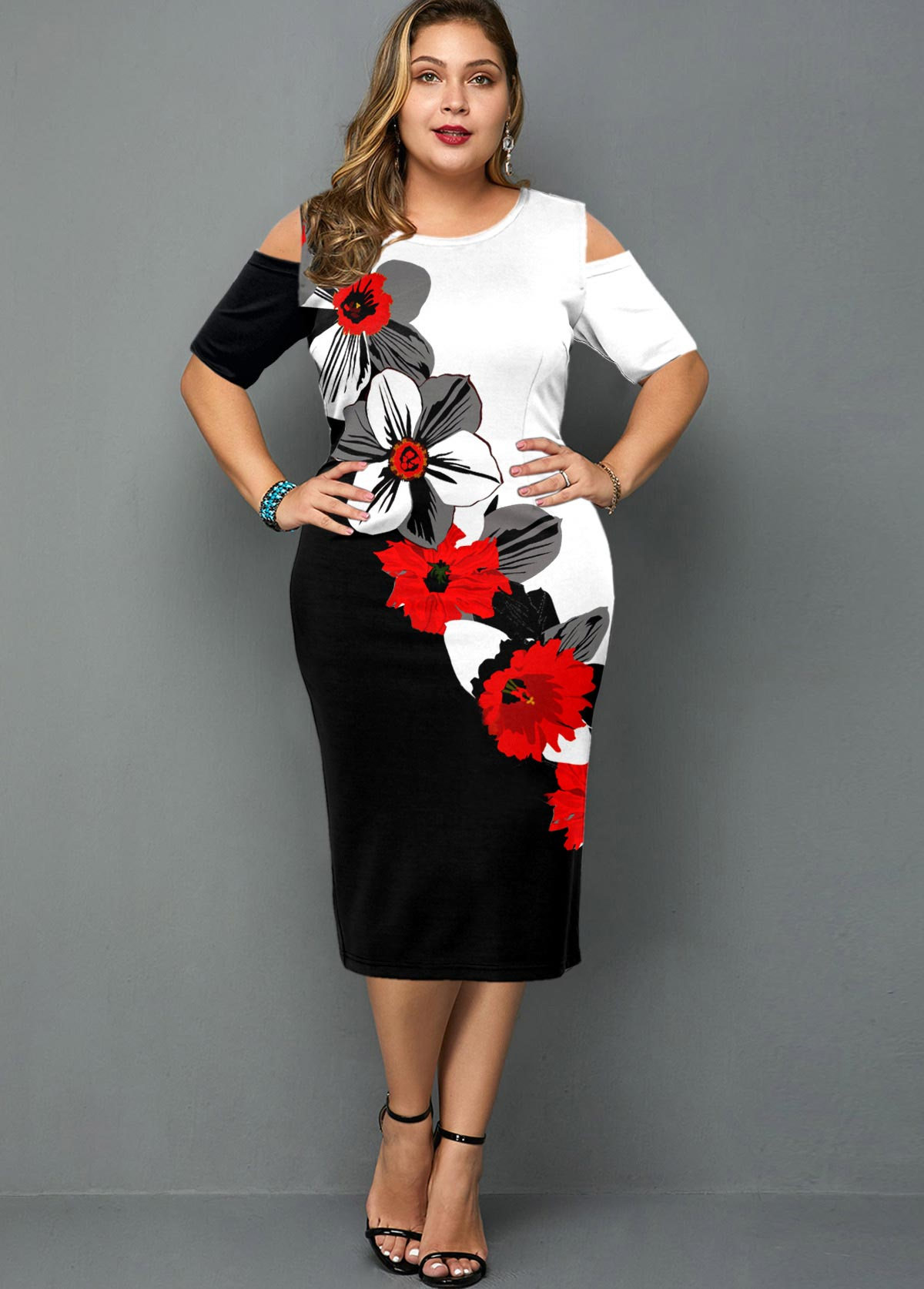 ROTITA Plus Size Cold Shoulder Floral Print Dress