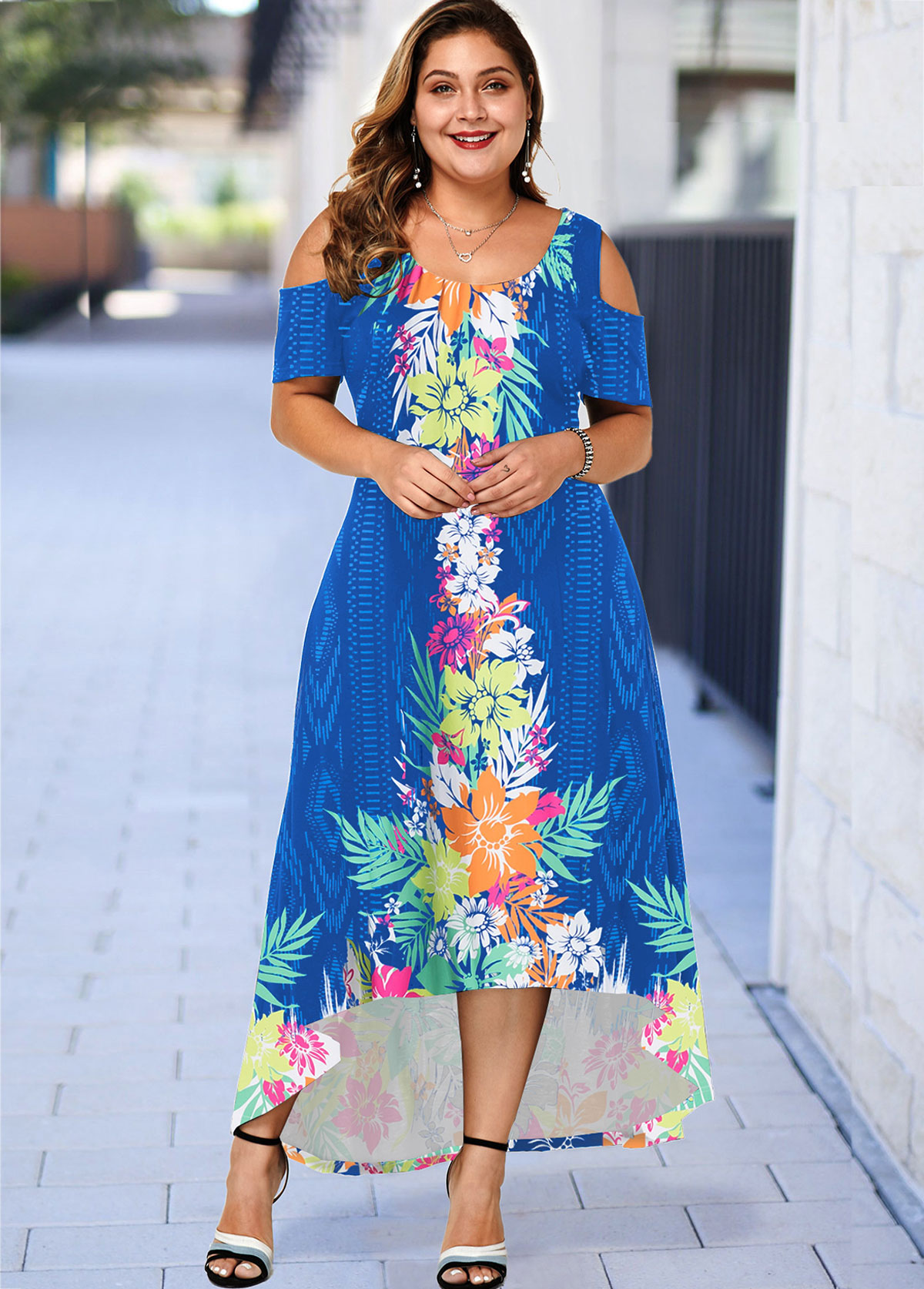 ROTITA Plus Size Cold Shoulder Floral Print High Low Dress
