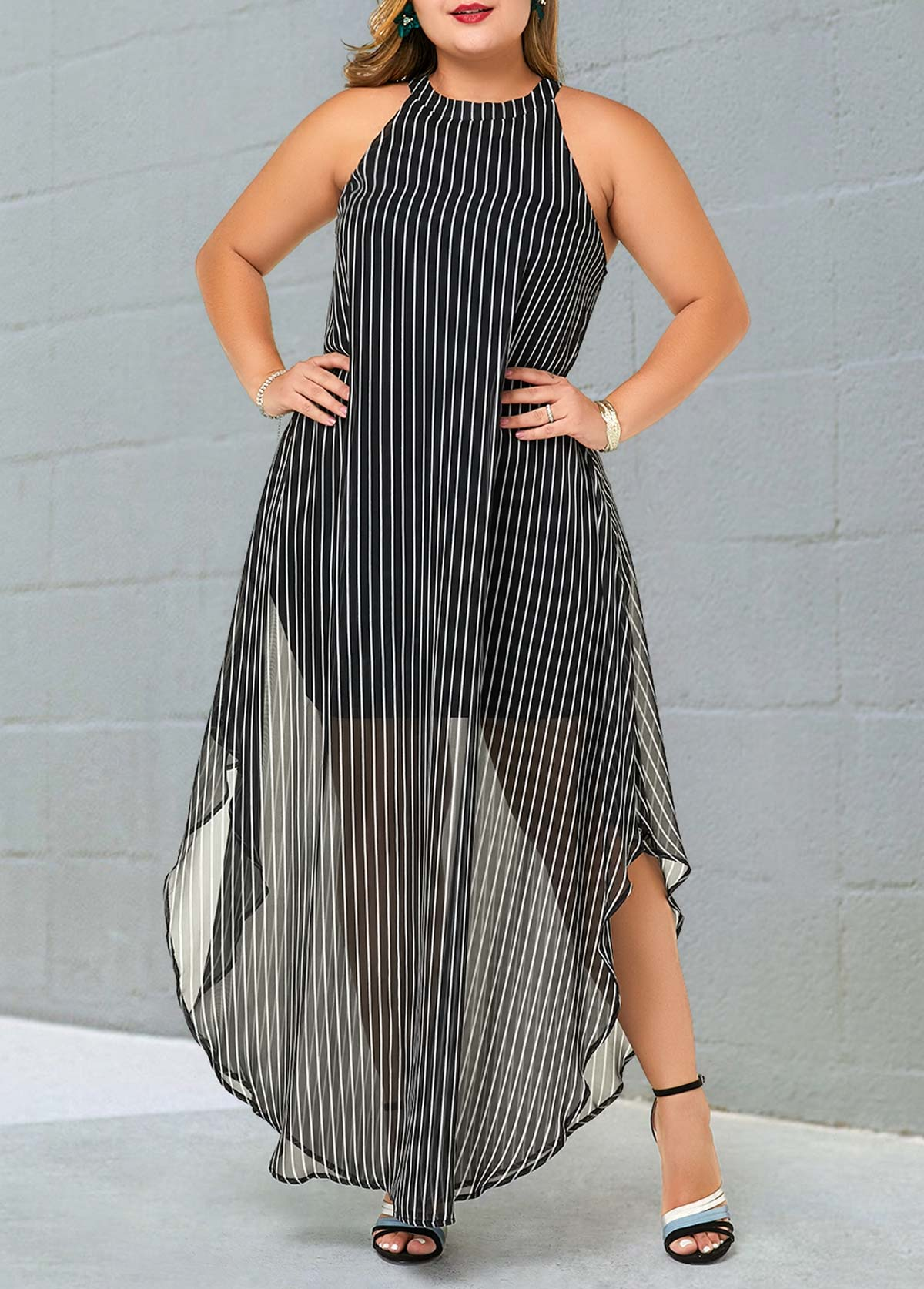 ROTITA Plus Size Striped Bib Neck Semi Sheer Dress