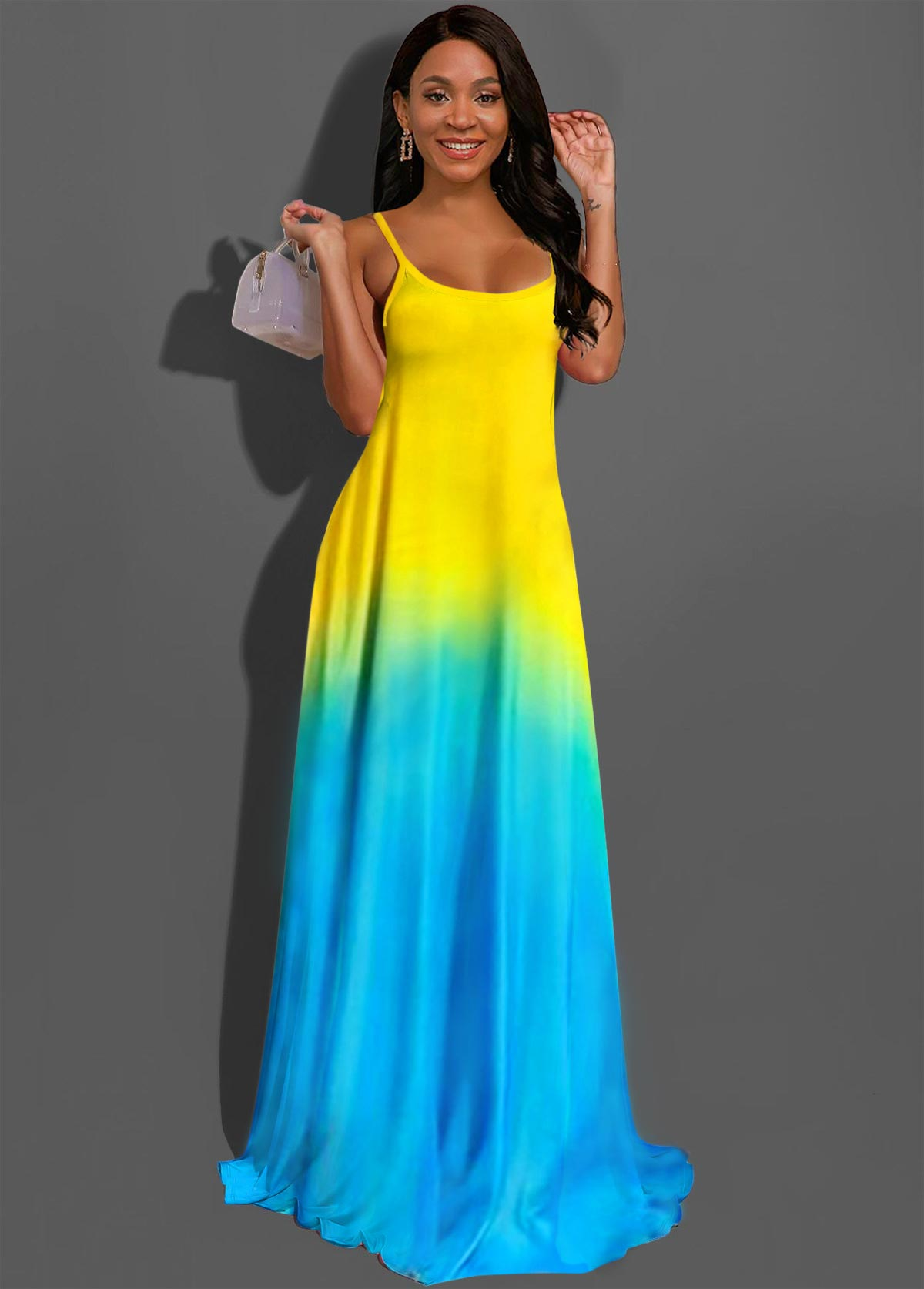 ROTITA Color Block Spaghetti Strap Ombre Maxi Dress