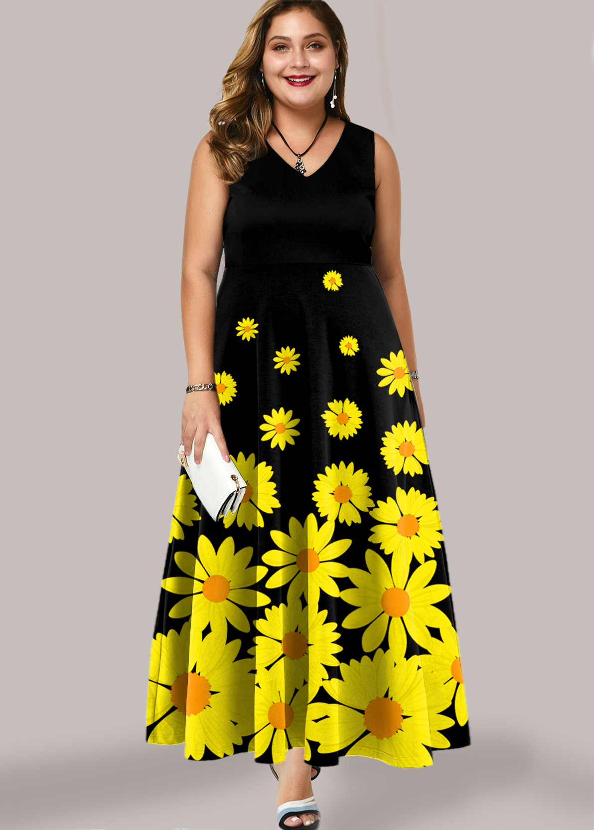 ROTITA Plus Size Sleeveless Daisy Print Maxi Dress
