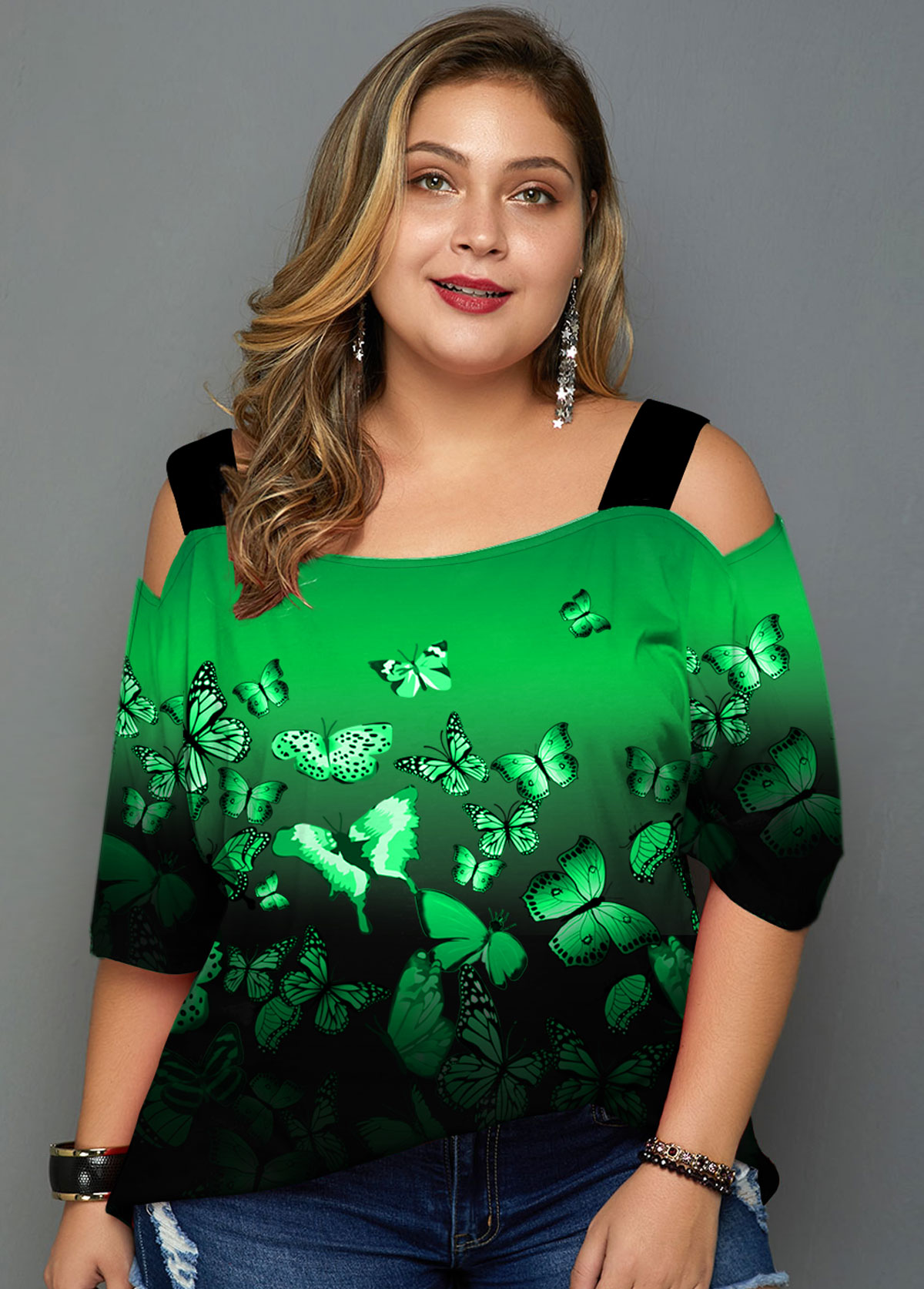 ROTITA Plus Size Cold Shoulder Ombre Butterfly Print T Shirt