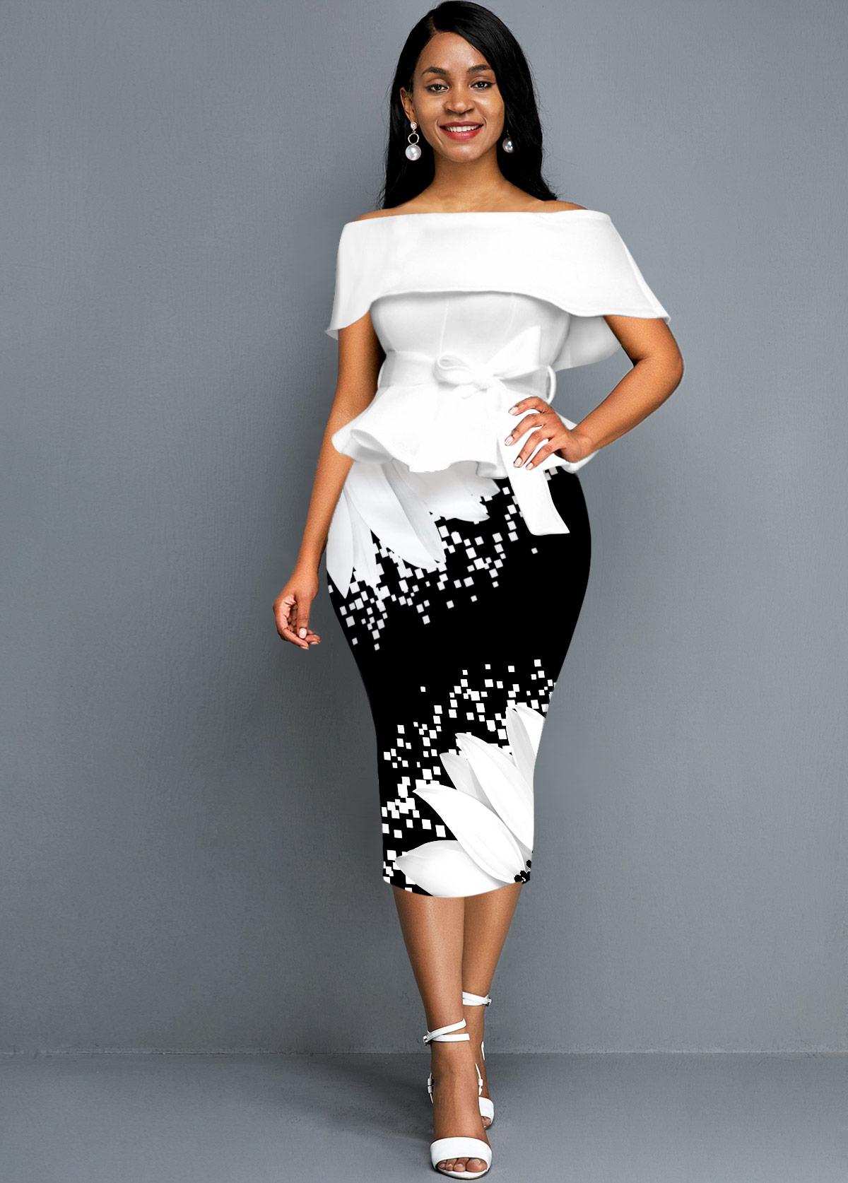ROTITA Off the Shoulder Sunflower Print Foldover Belted Dress