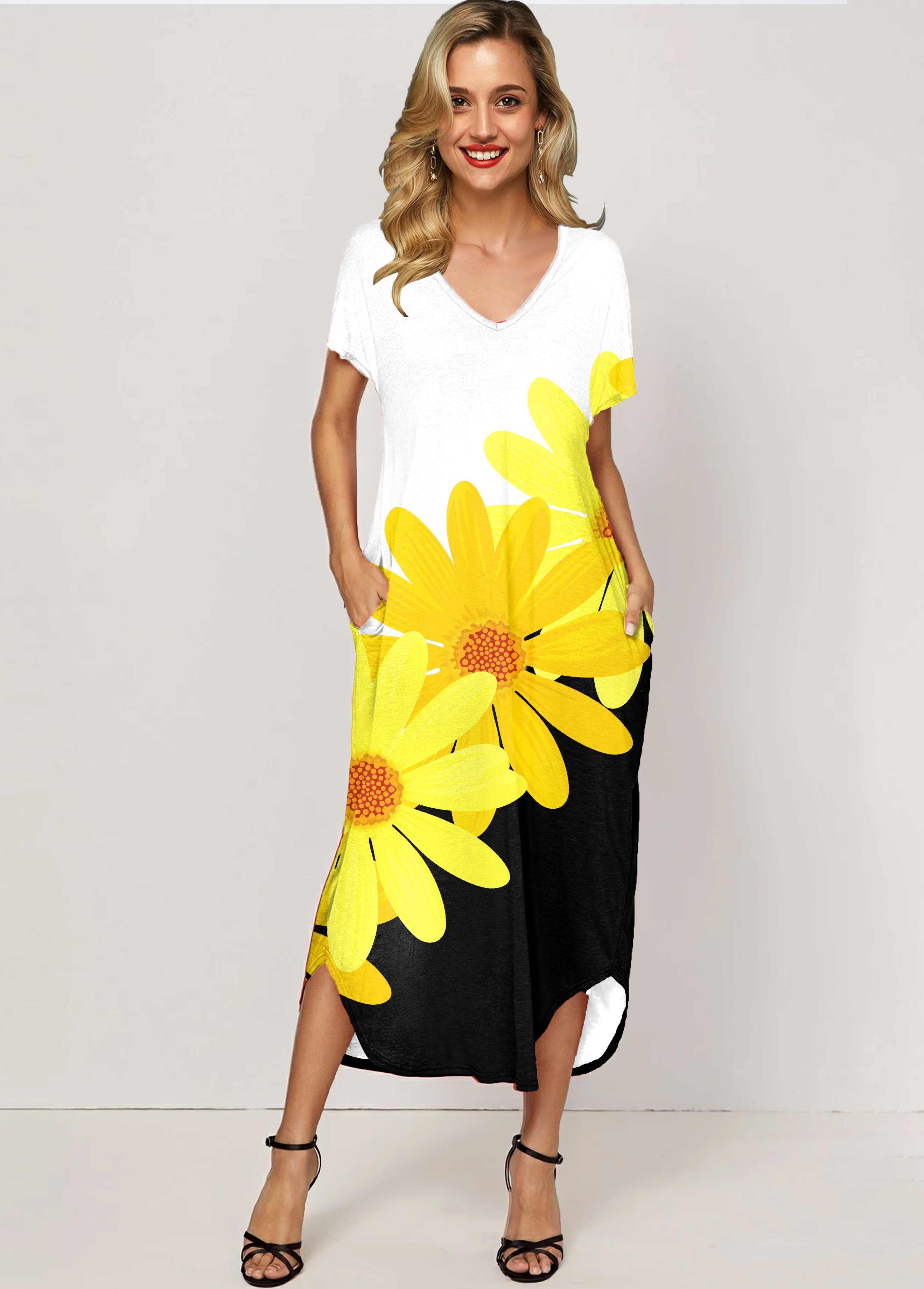 ROTITA Side Pocket Daisy Print Color Block Maxi Dress