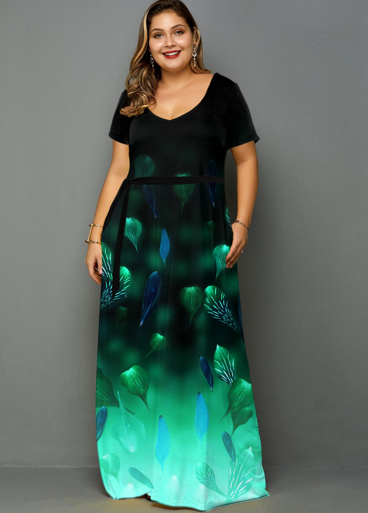 ROTITA Plus Size Printed Side Pocket Ombre Dress
