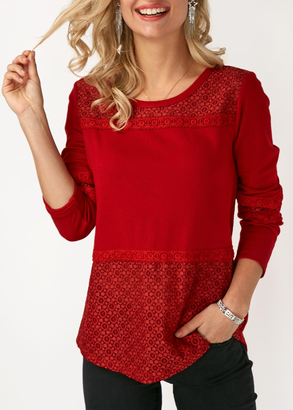 ROTITA Lace Panel Long Sleeve Round Neck T Shirt