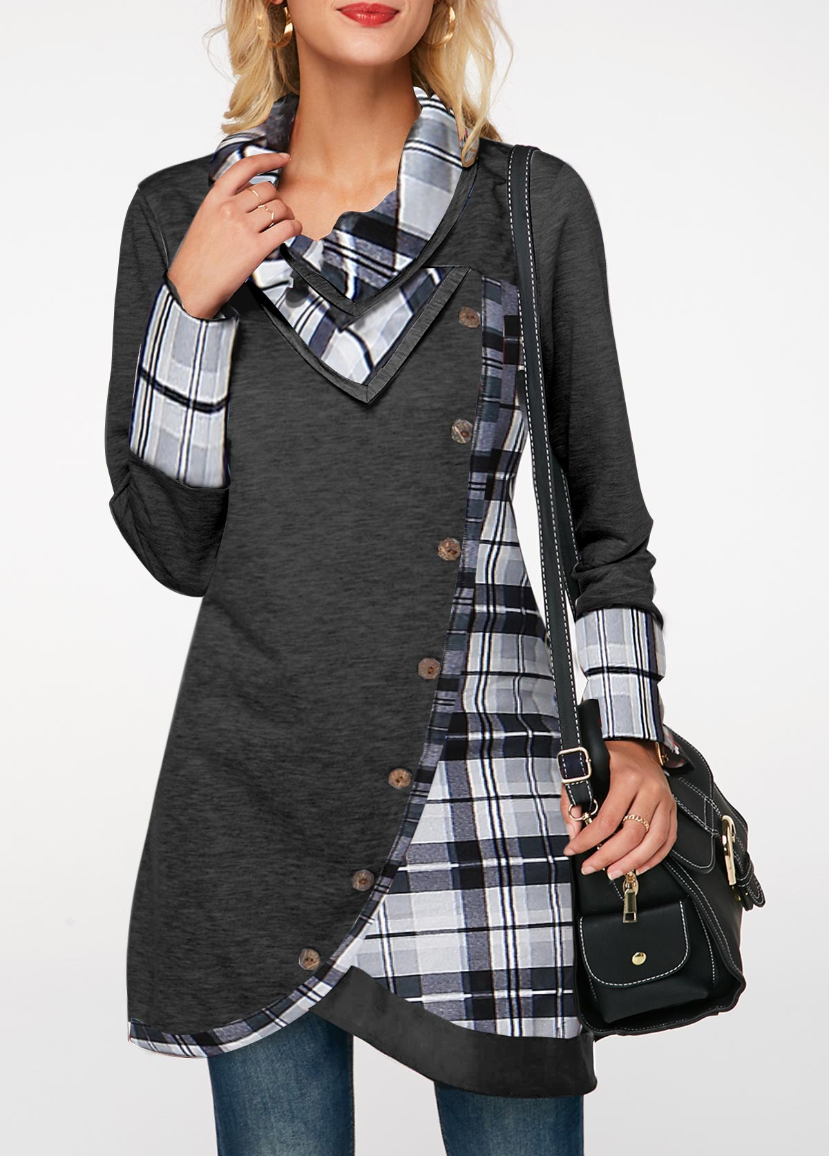 ROTITA Plaid Print Turndown Collar Inclined Button Tunic Top