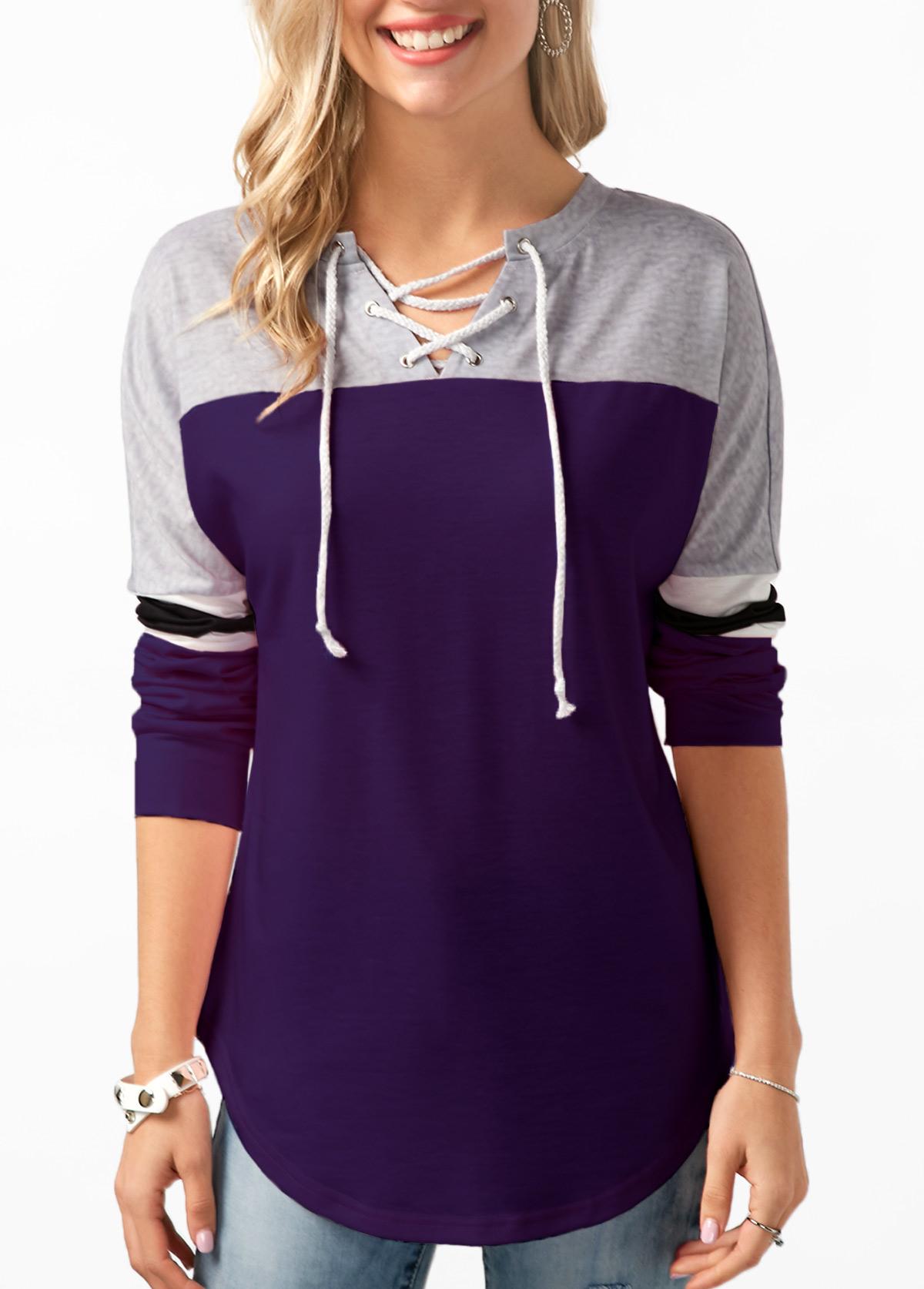 ROTITA Long Sleeve Contrast Lace Up Sweatshirt