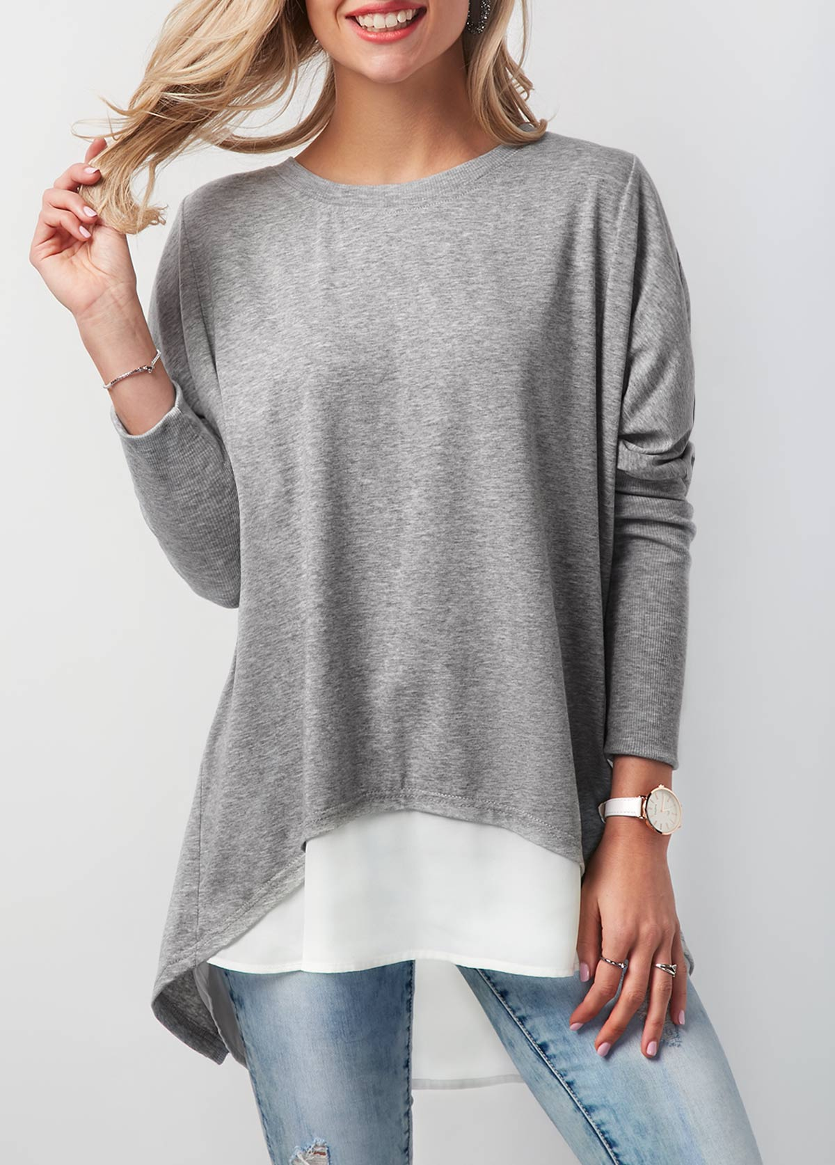ROTITA Round Neck Button Back Contrast T Shirt