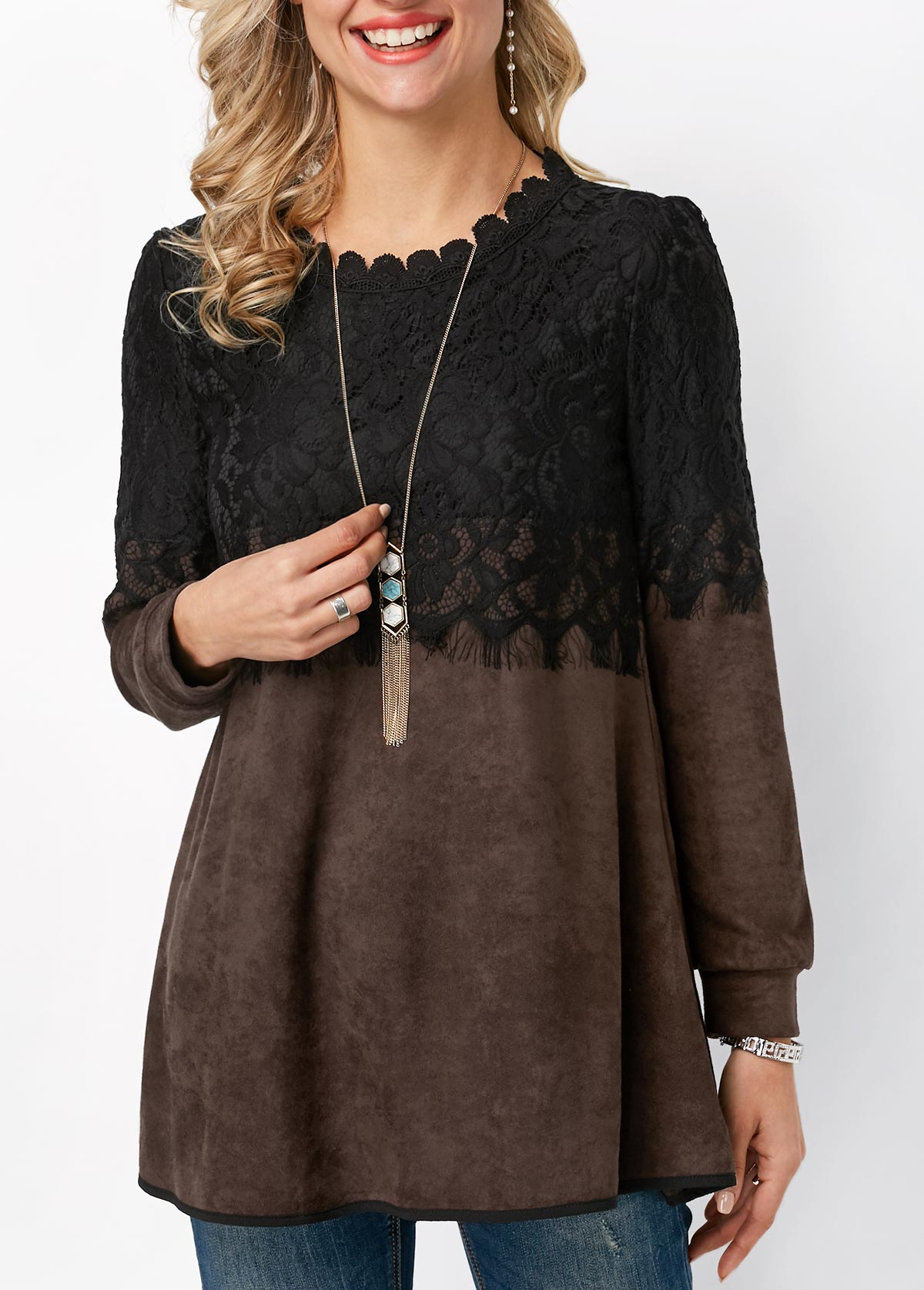 ROTITA Lace Panel Long Sleeve Round Neck T Shirt