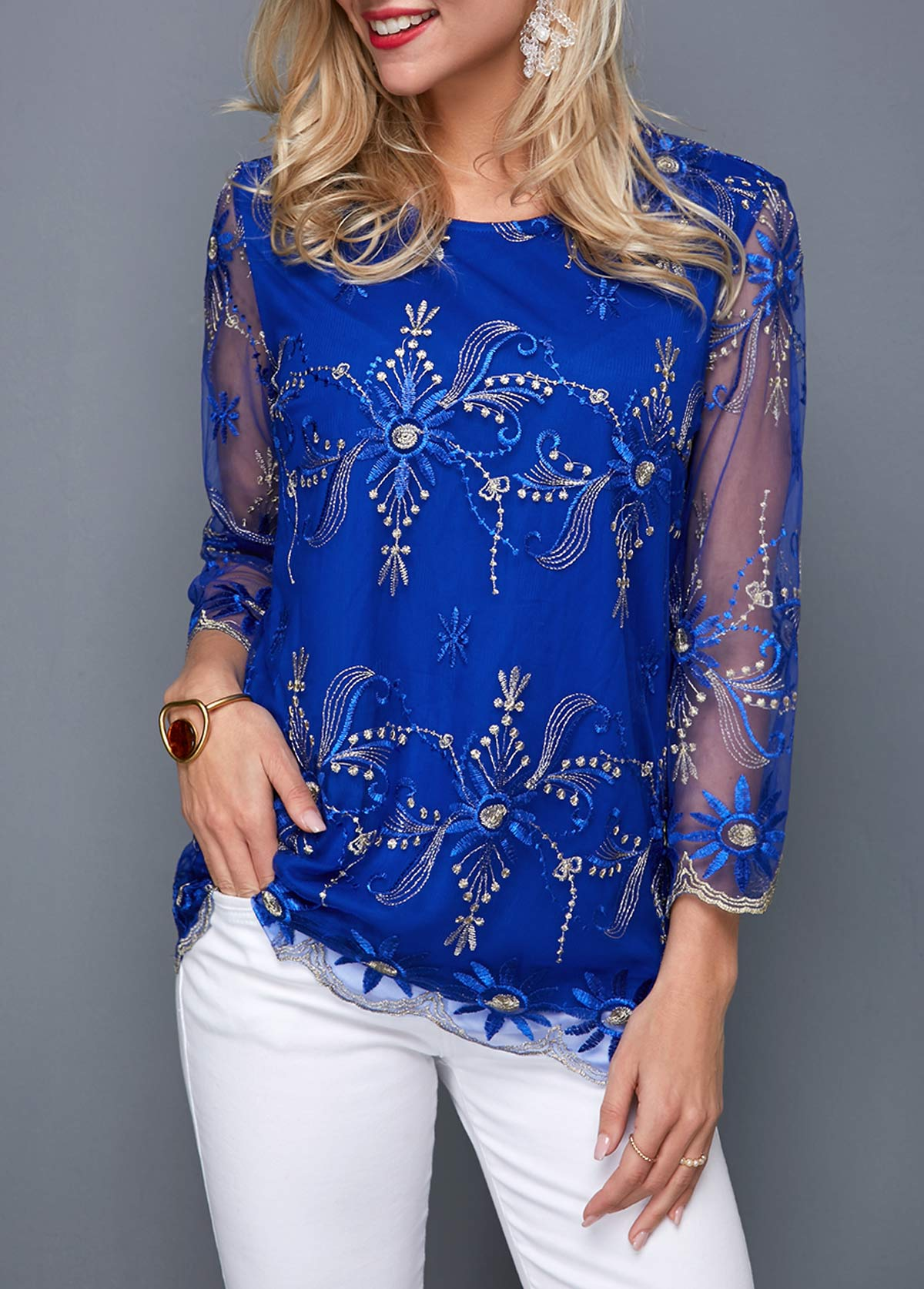 ROTITA Round Neck Embroidered Mesh Panel Blouse