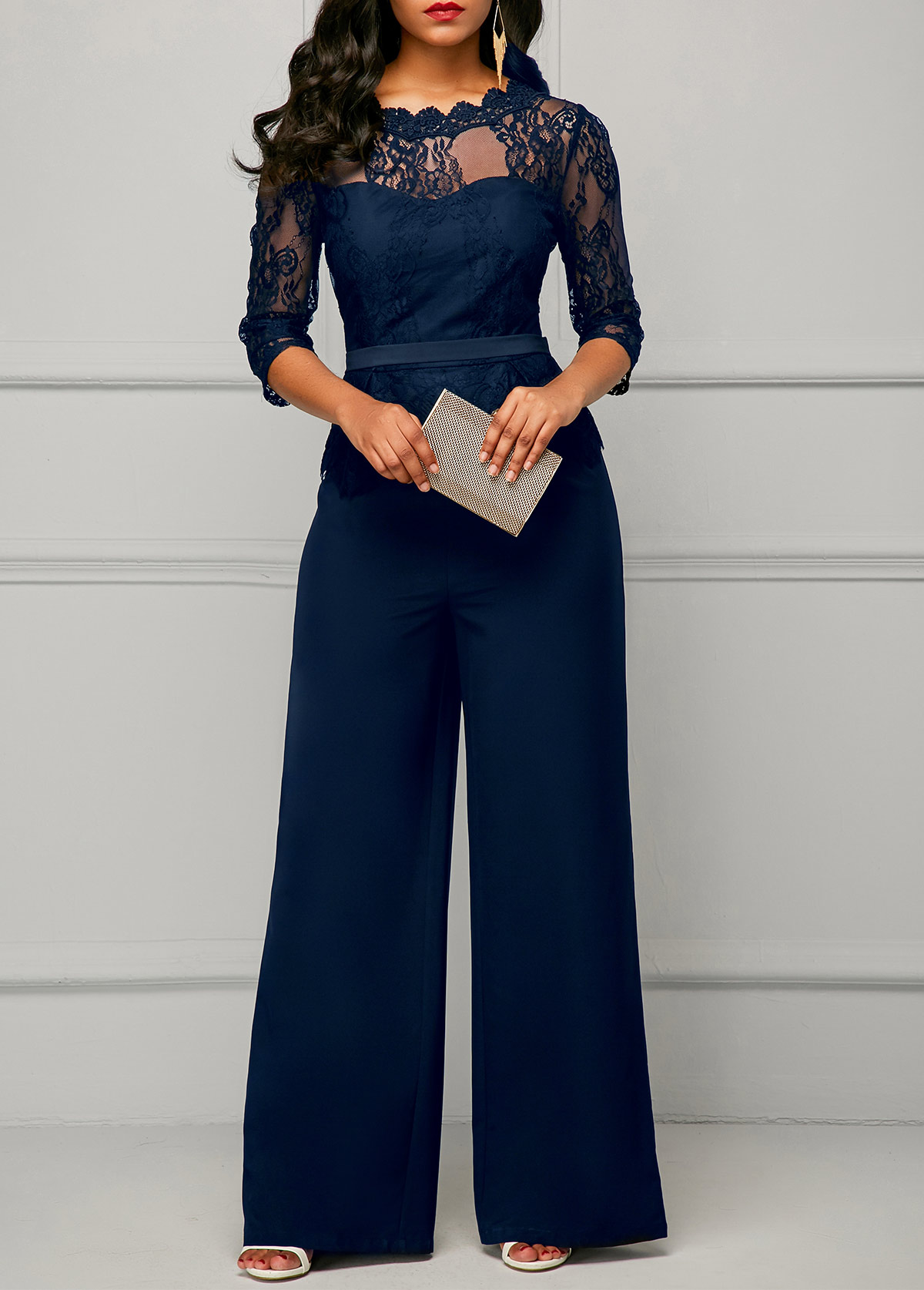 ROTITA Round Neck Lace Panel Three Quarter Sleeve Jumpsuit