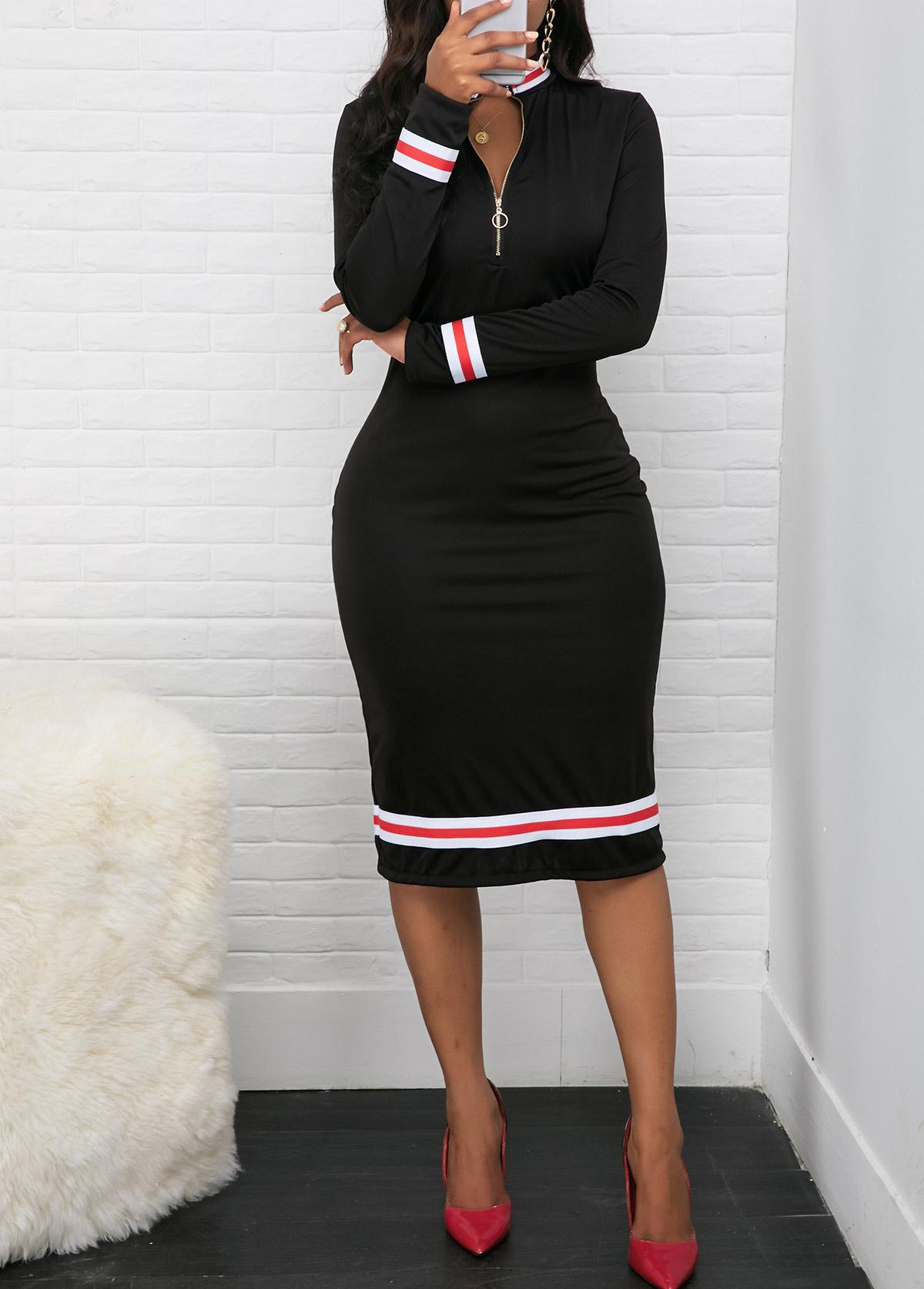 ROTITA Quarter Zip Contrast Striped Long Sleeve Dress