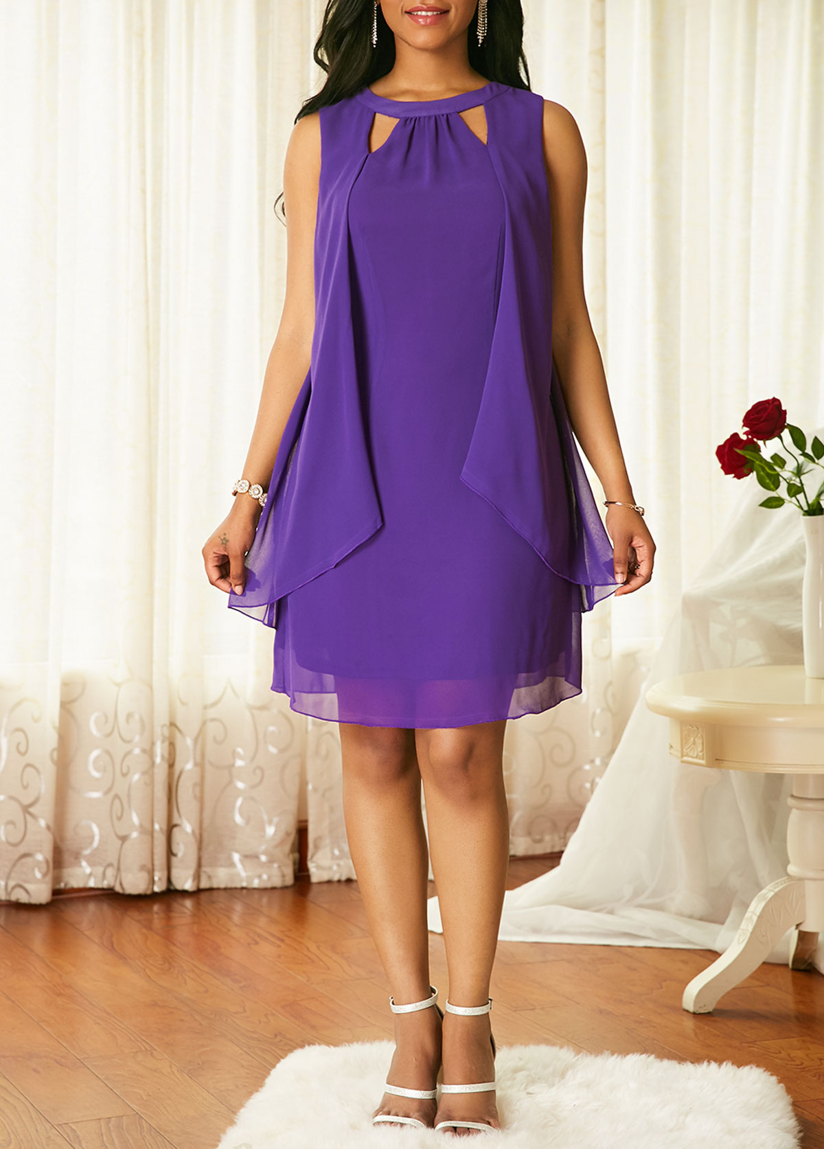 ROTITA Chiffon Overlay Cutout Front Sleeveless Dress