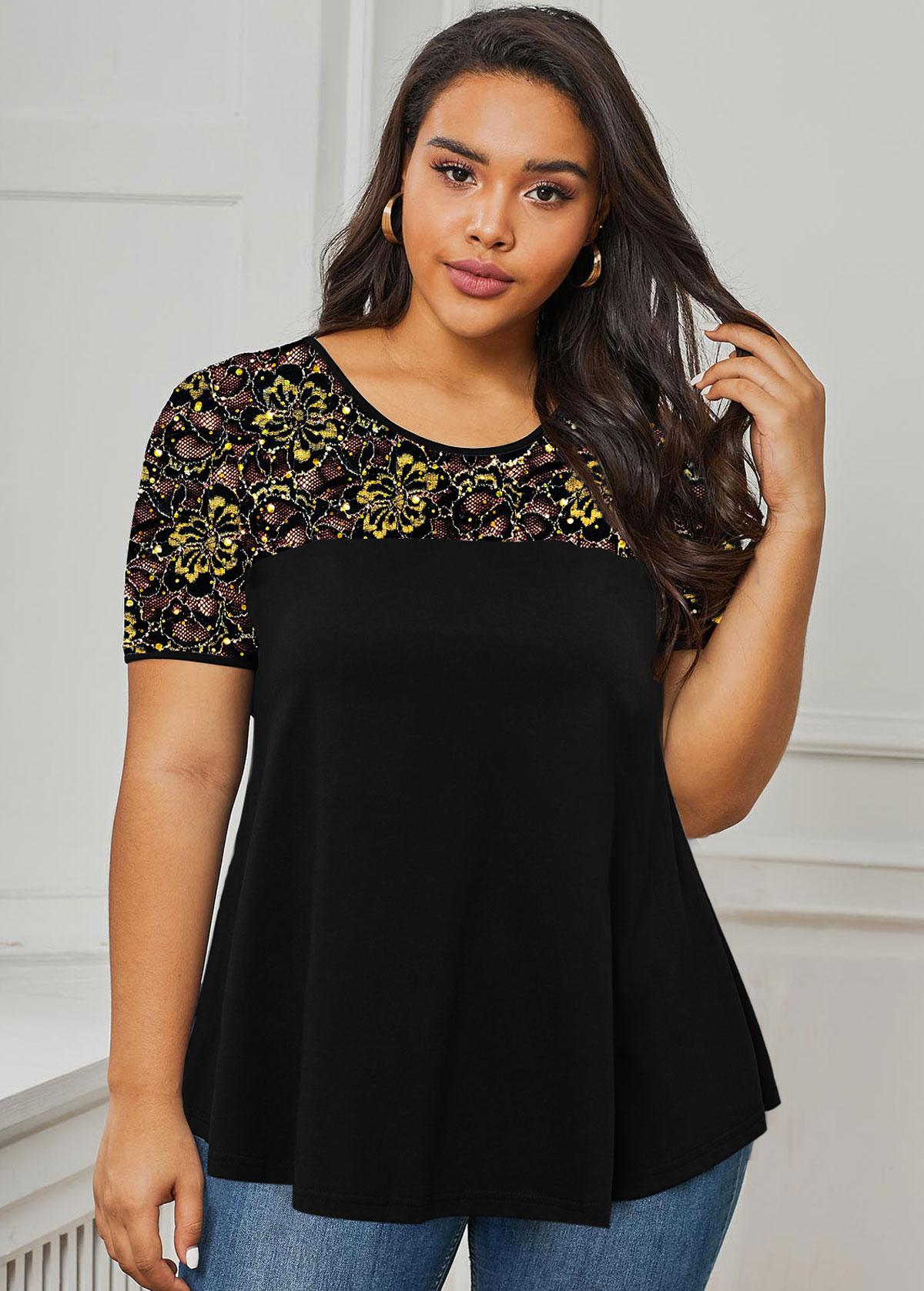 ROTITA Plus Size Sequin Detail Lace Panel T Shirt