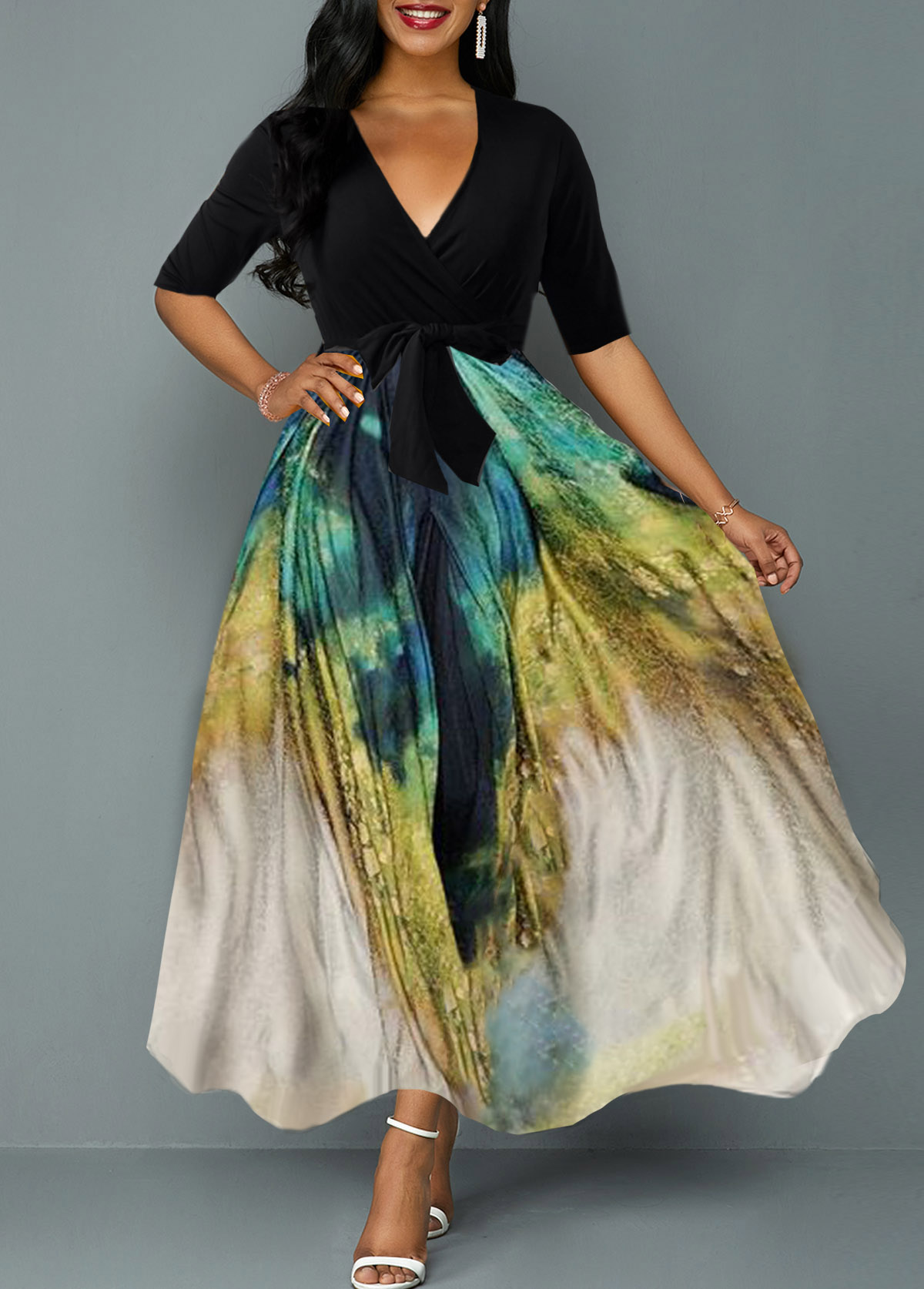 ROTITA Plunging Neck Tie Dye Print Belted Maxi Dress
