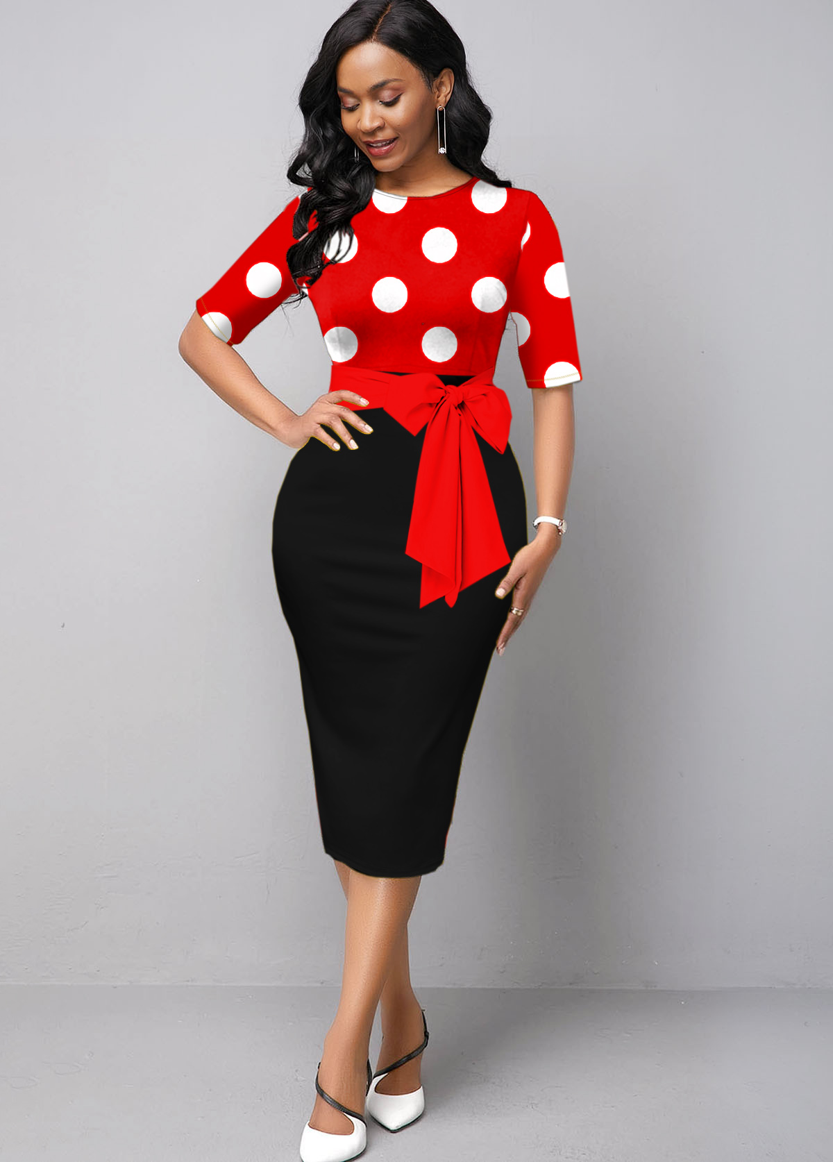 ROTITA Polka Dot Short Sleeve Round Neck Belted Dress