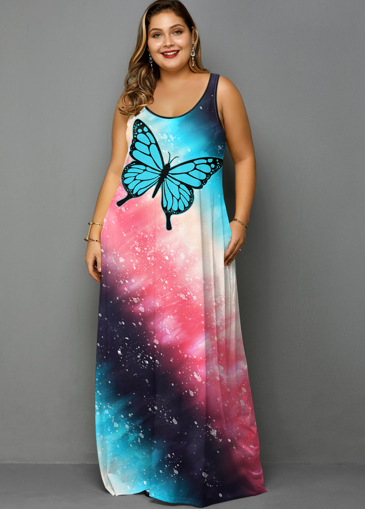 ROTITA Plus Size Ombre Tie Dye Butterfly Print Dress