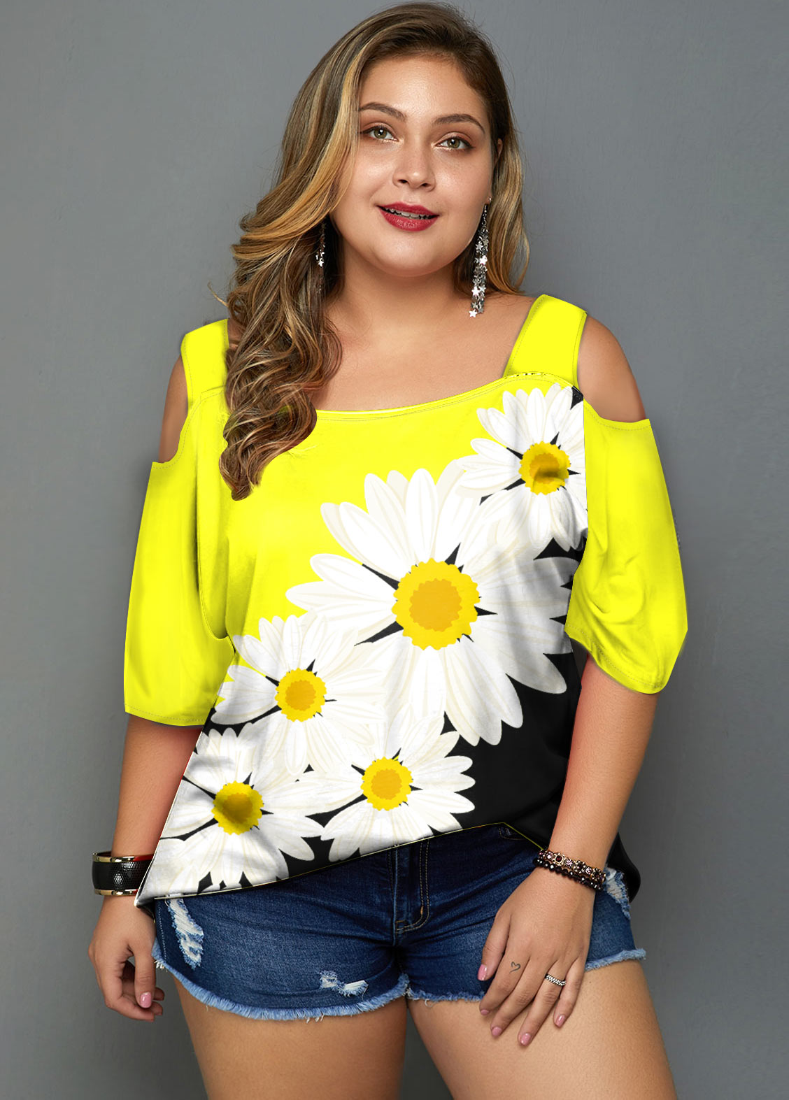 ROTITA Plus Size Cold Shoulder Daisy Print T Shirt