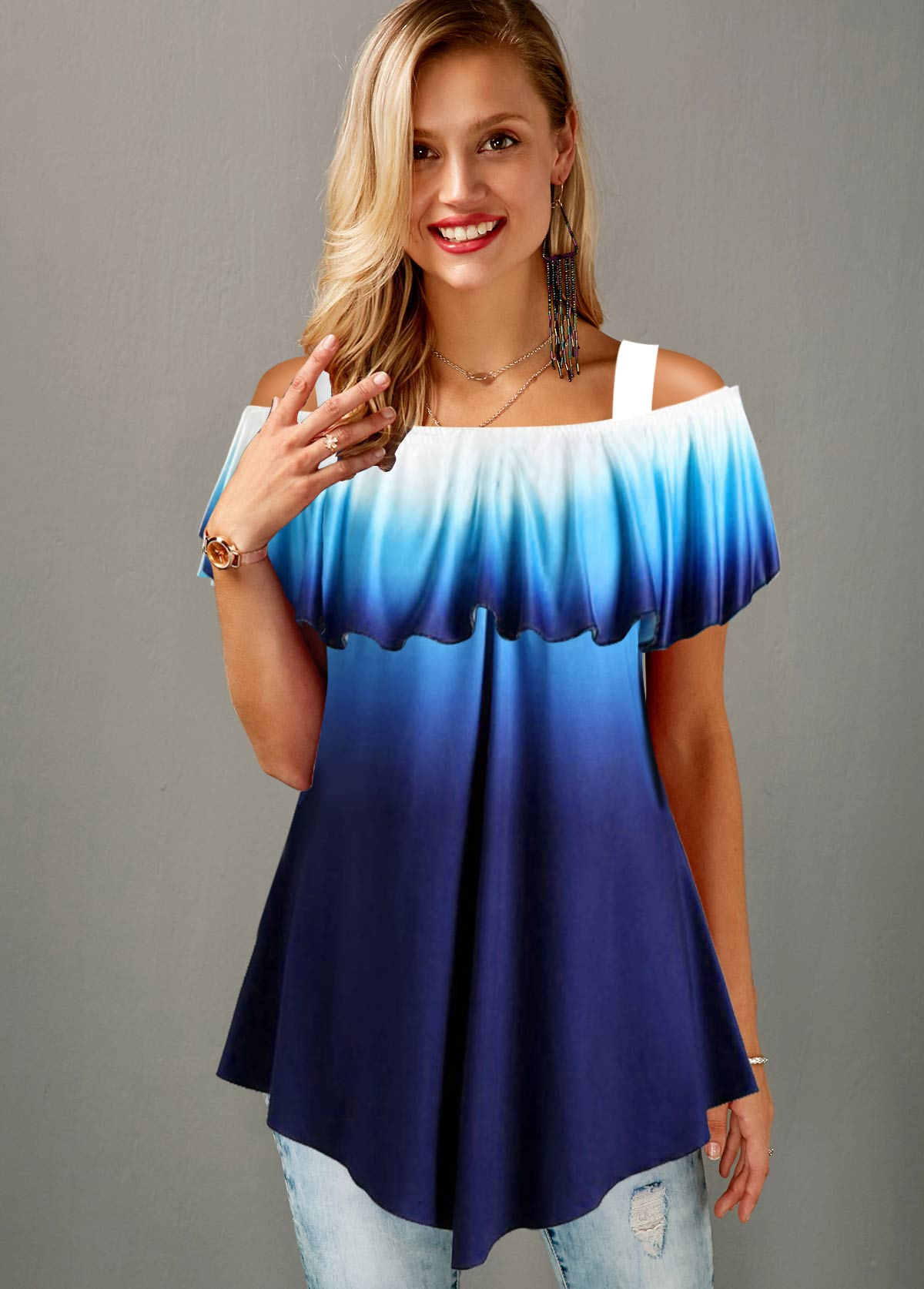 ROTITA Strappy Cold Shoulder Ombre Navy Blue T Shirt