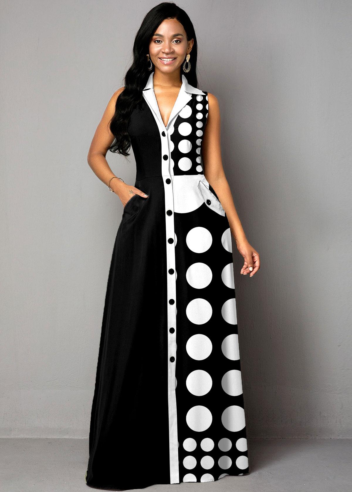 ROTITA Button Up Color Block Polka Dot Maxi Dress