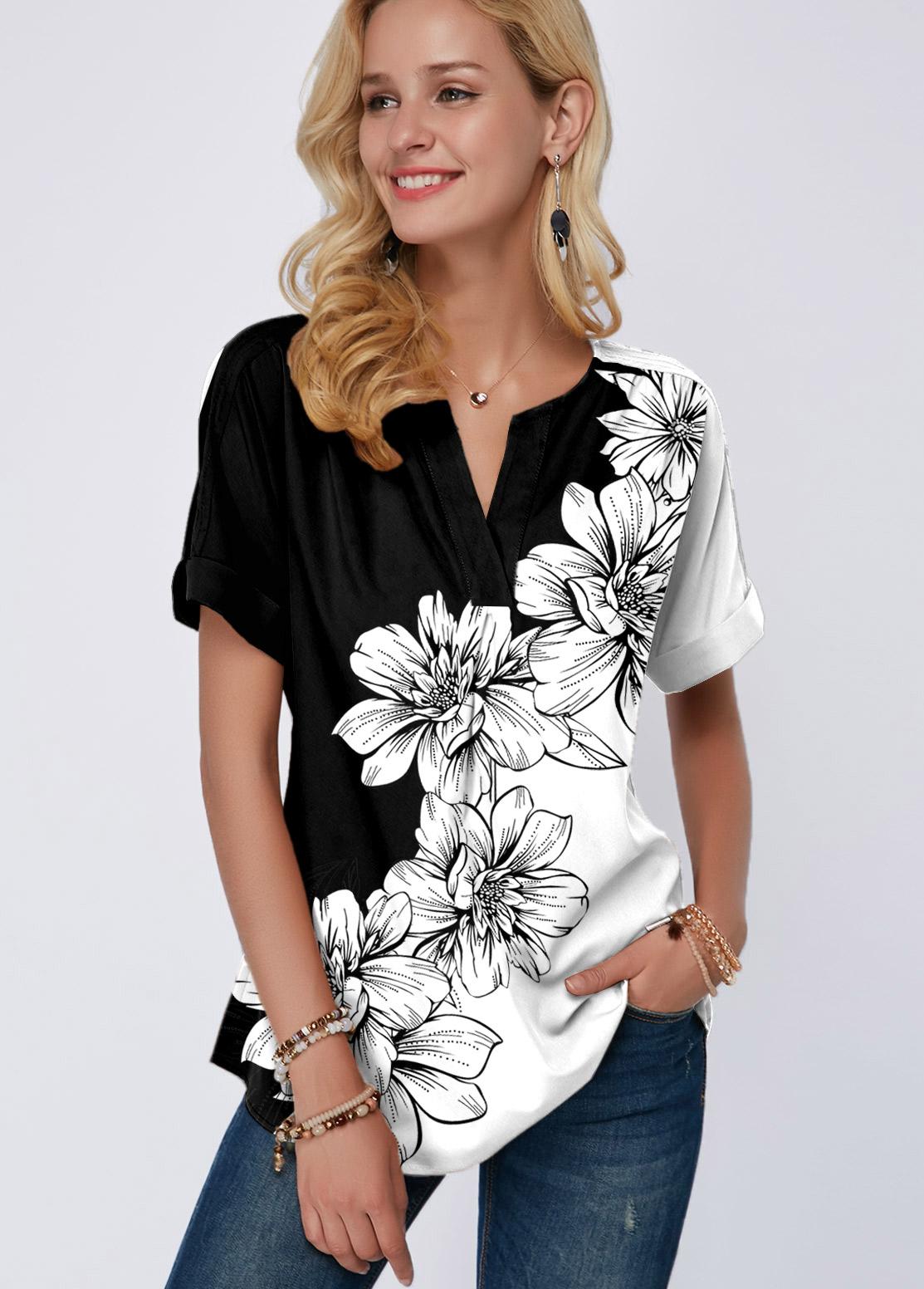 ROTITA Split Neck Floral Print Short Sleeve T Shirt