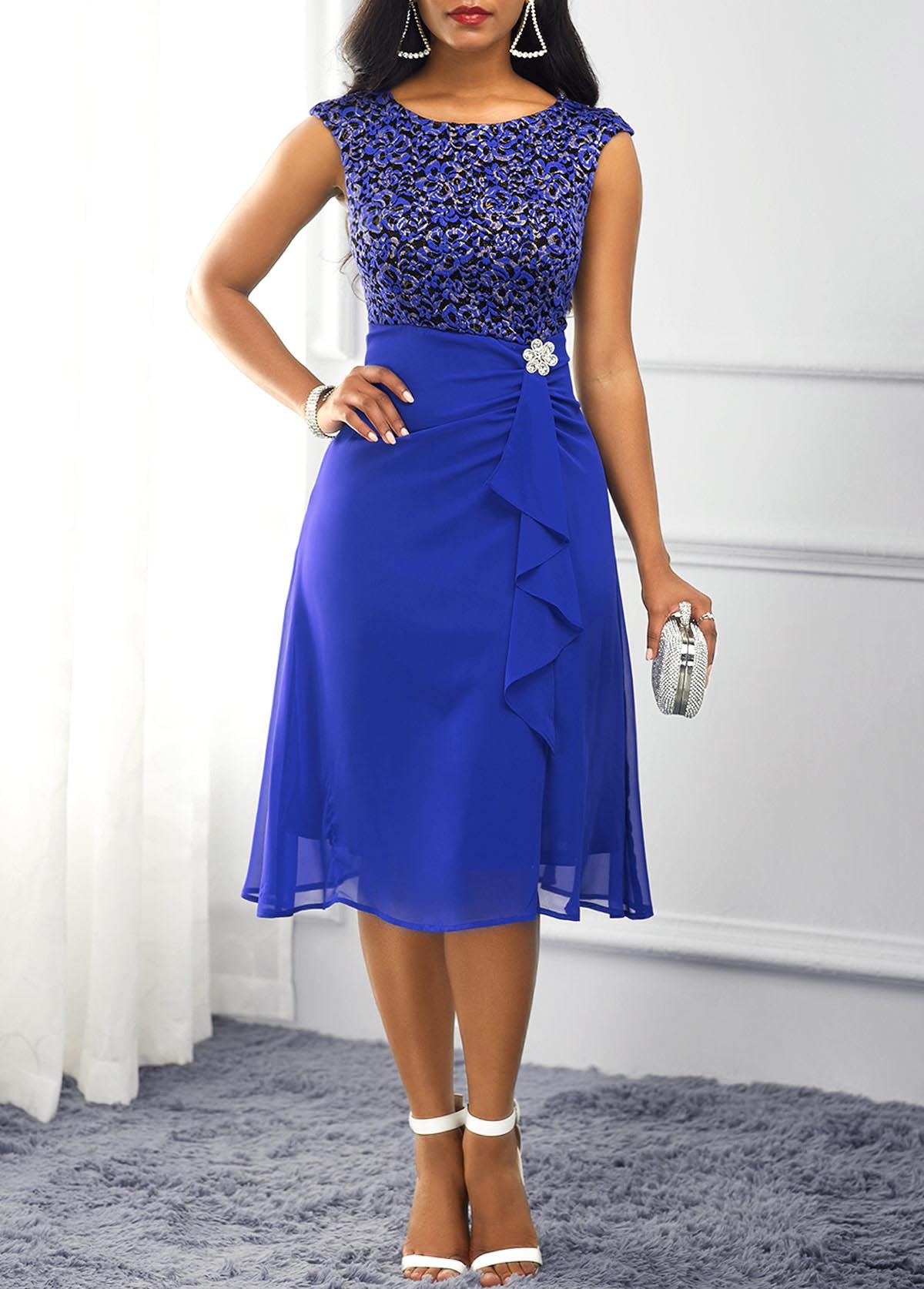 ROTITA Lace Panel Royal Blue Ruffle Trim Dress