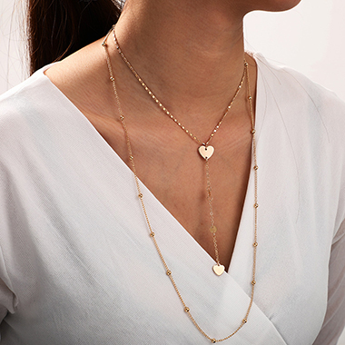 Gold Metal Heart Design Layered Necklace