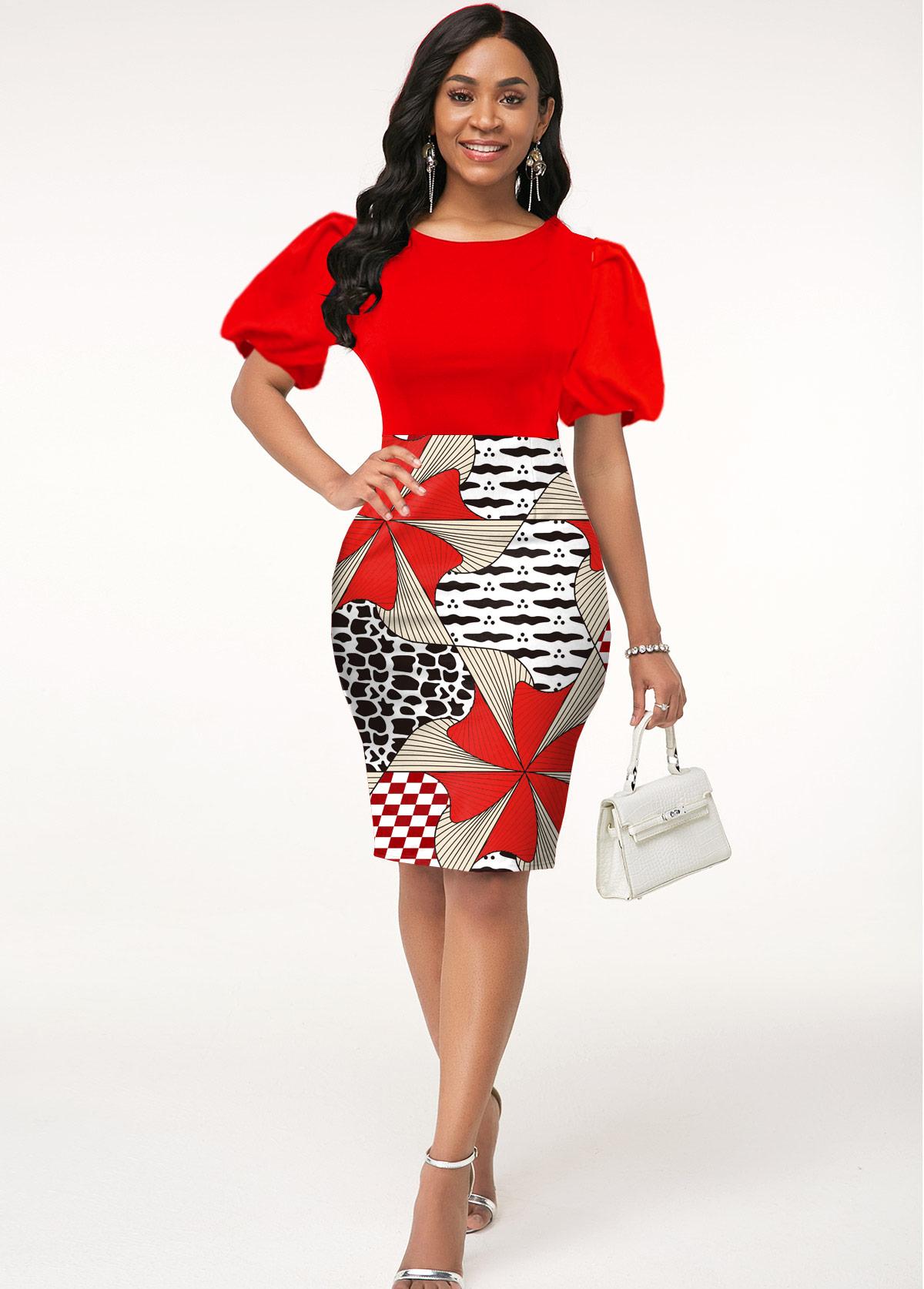 ROTITA Puff Sleeve Round Neck Geometric Print Dress