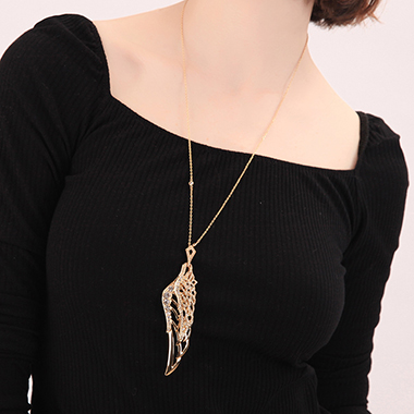 Pierced Gold Metal Feather Design Necklace