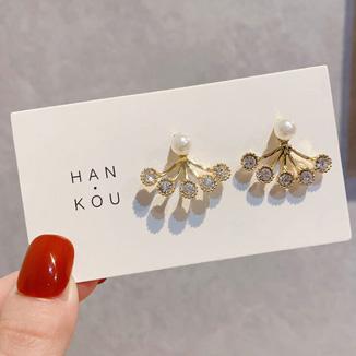 Gold Metal Pearl Detail Earring Set