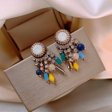 Bead Embellished Multi Color Pearl Earring Set