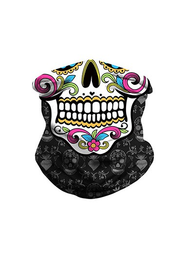 1pc Halloween Skull Print Black Bandana