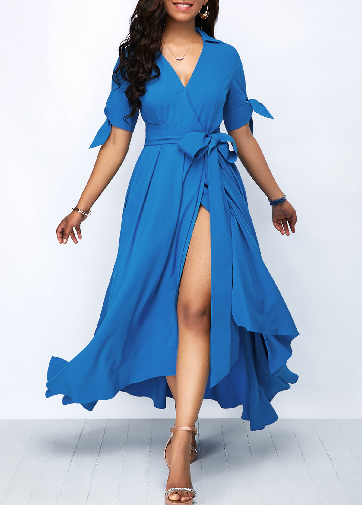 Belted Tie Sleeve Front Slit Maxi Dress