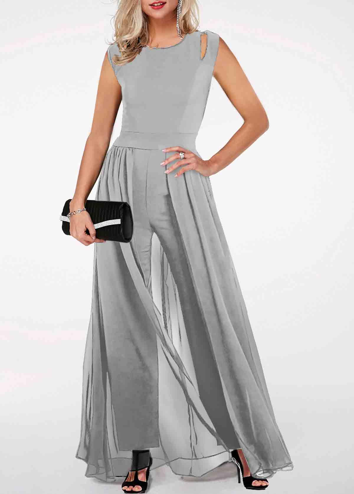 ROTITA High Waist Round Neck Light Grey Jumpsuit