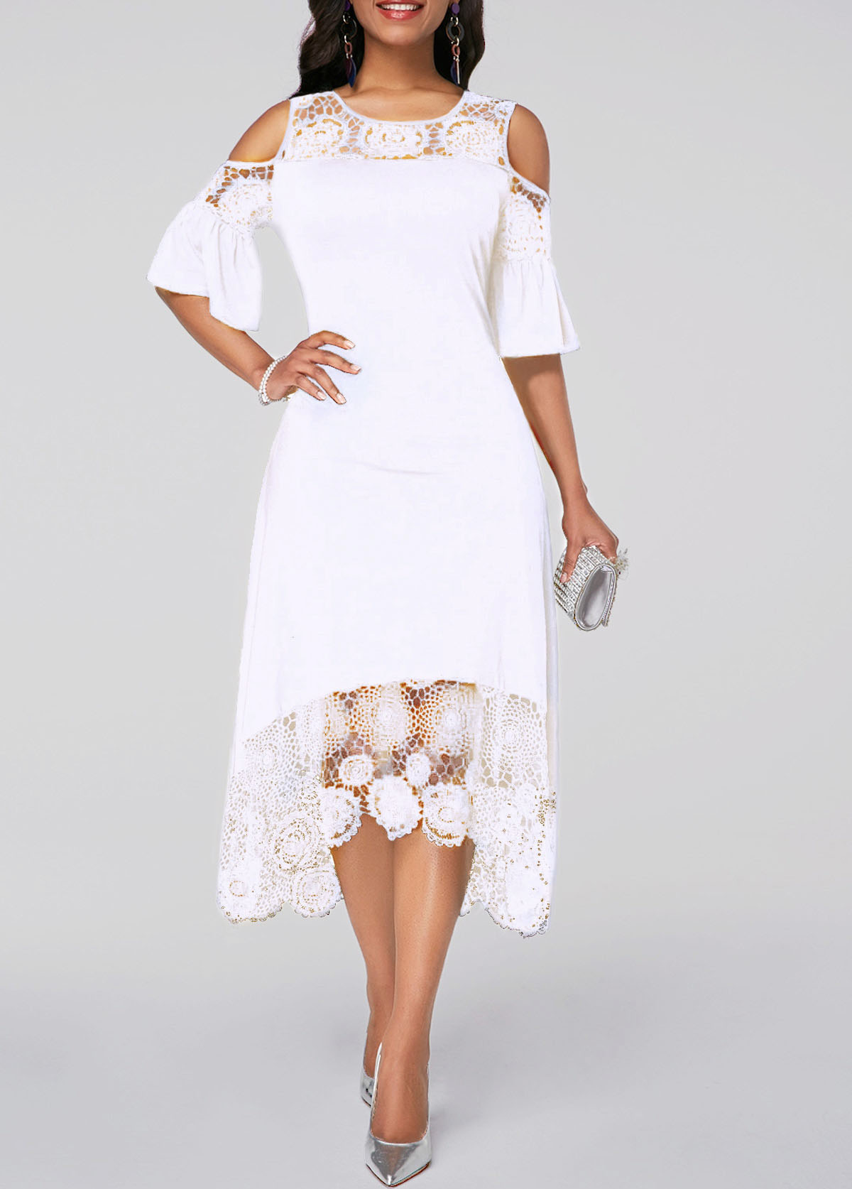 ROTITA White Flare Cuff Lace Panel Cold Shoulder Dress