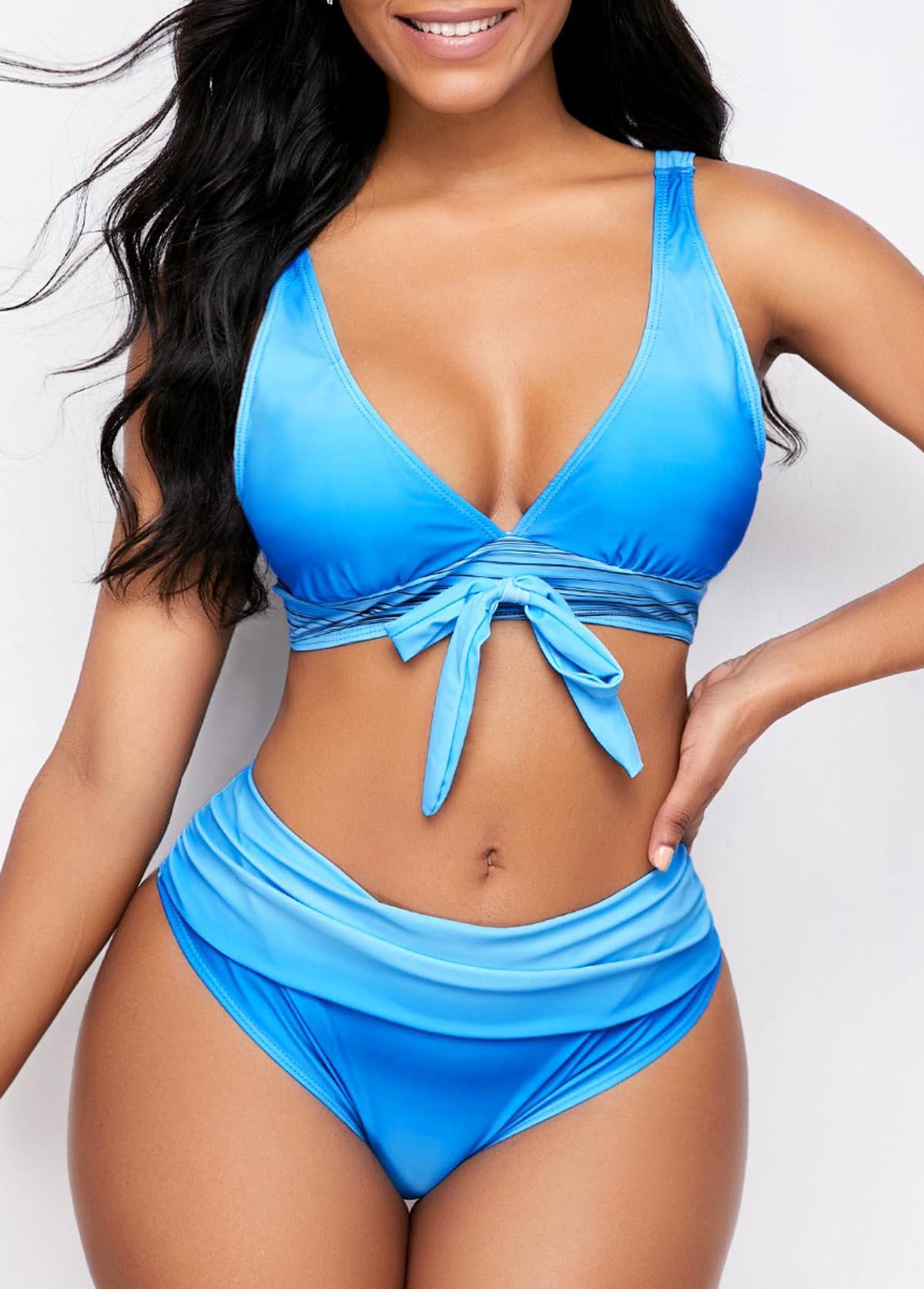 ROTITA Plunging Neck Bowknot Detail Ombre Bikini Set