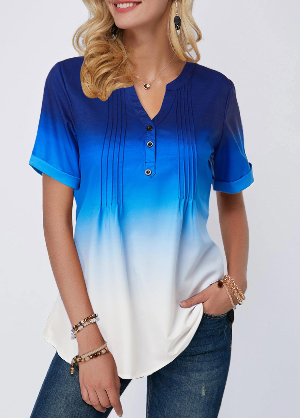 ROTITA Split Neck Crinkle Chest Button Detail Ombre Blouse