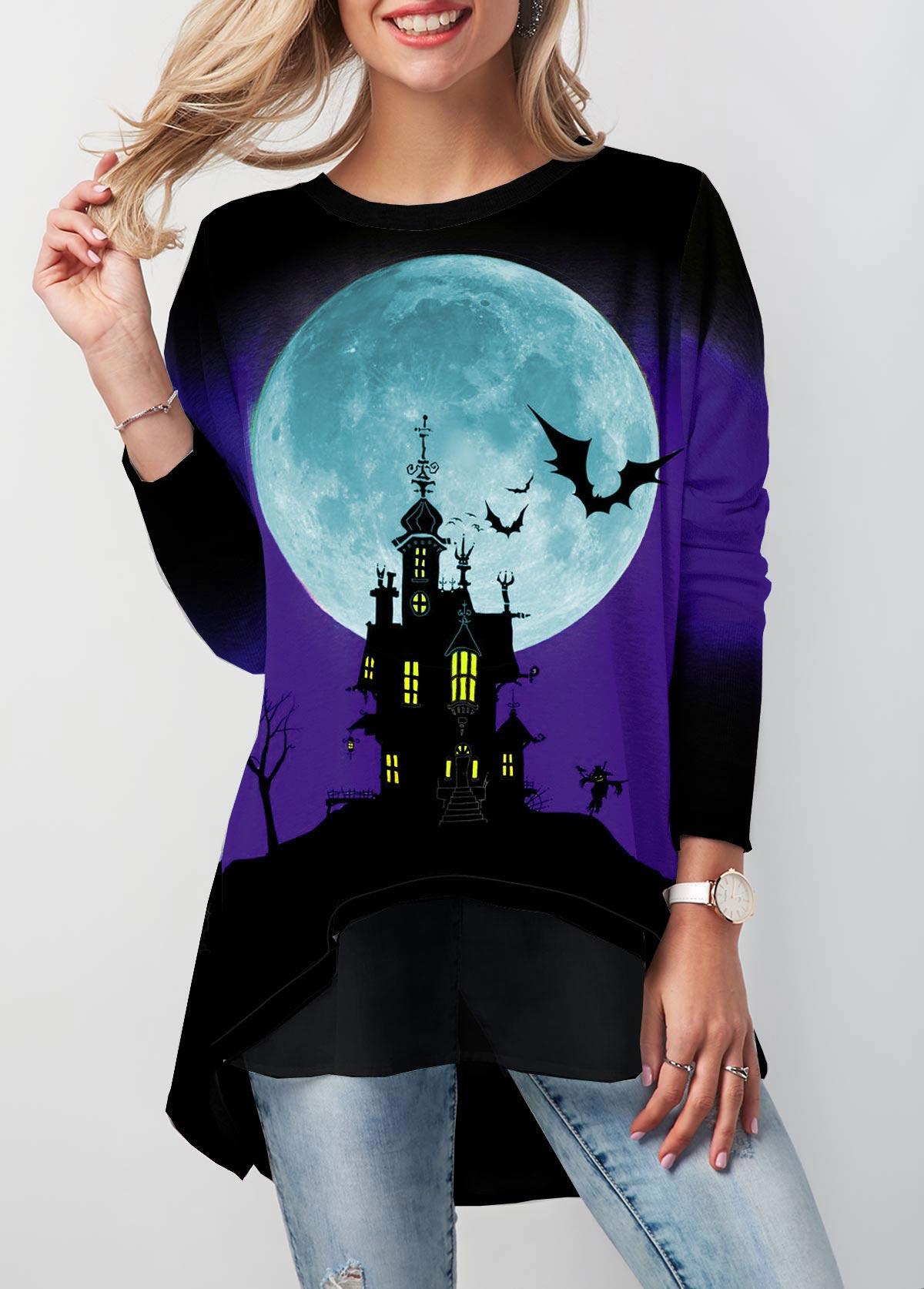 ROTITA Halloween Print Dip Hem Button Detail T Shirt