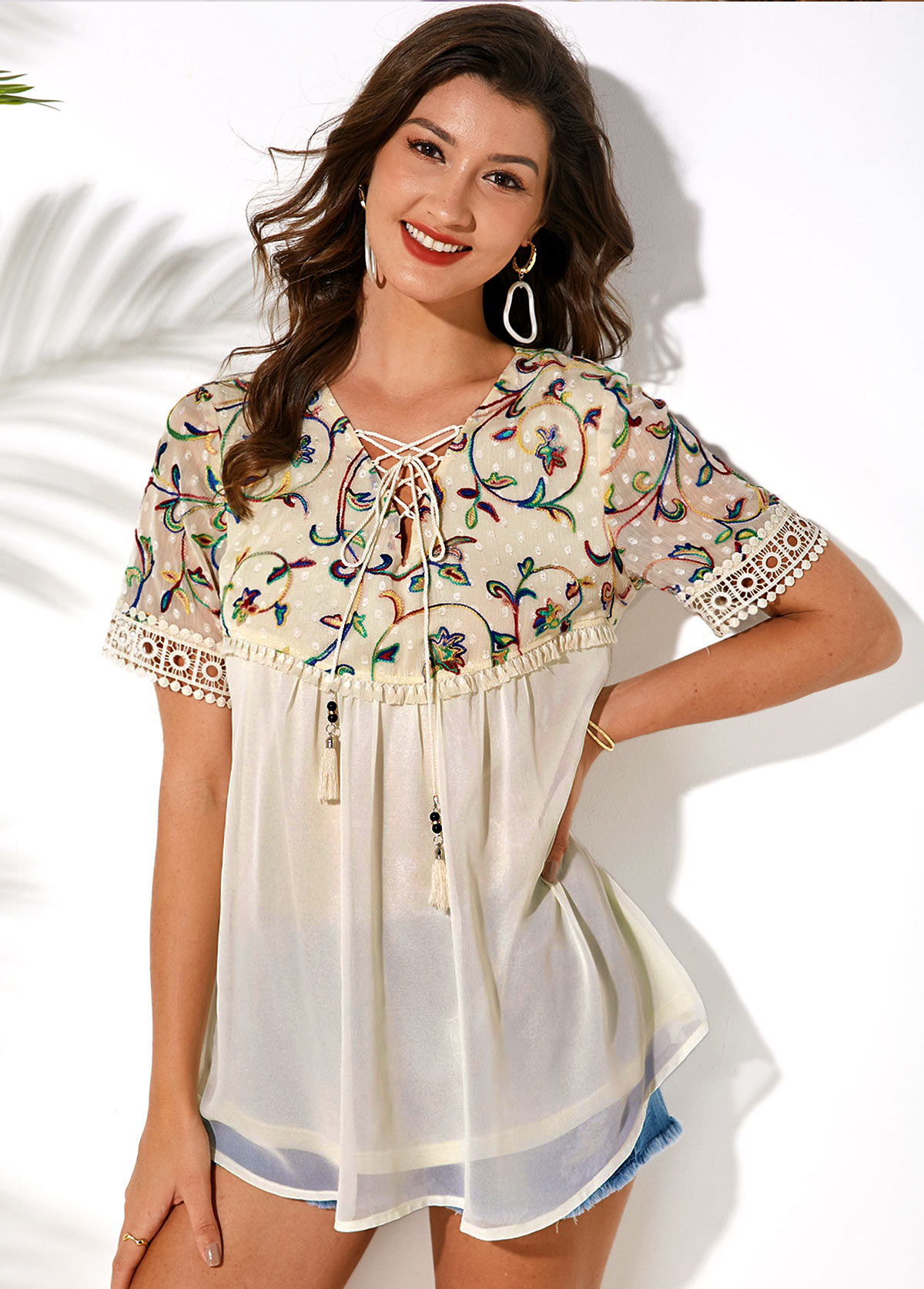 ROTITA Lace Up Embroidered Short Sleeve T Shirt