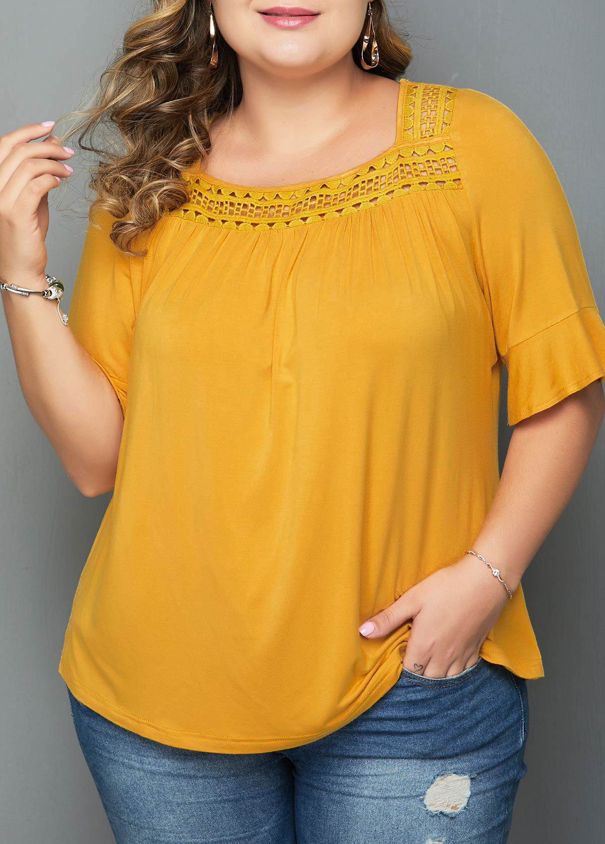 ROTITA Plus Size Yellow Half Sleeve T Shirt
