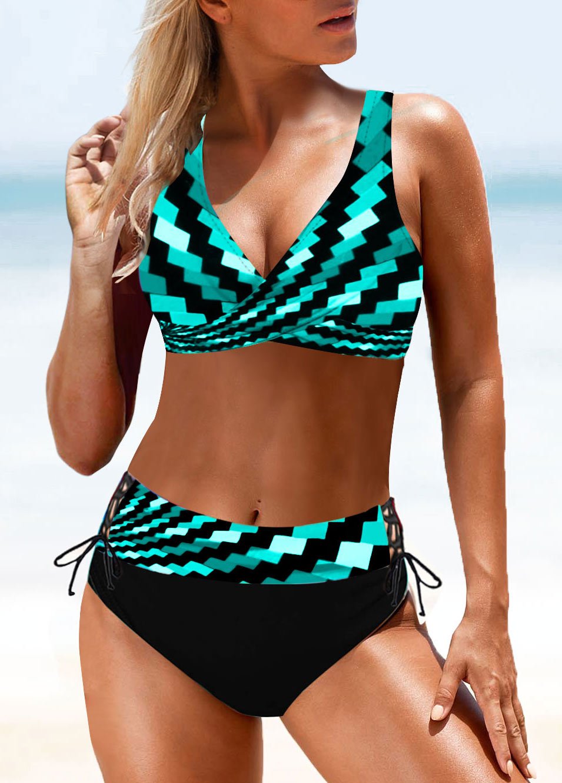 ROTITA Drawstring Waist Geometric Print Tie Back Bikini Set