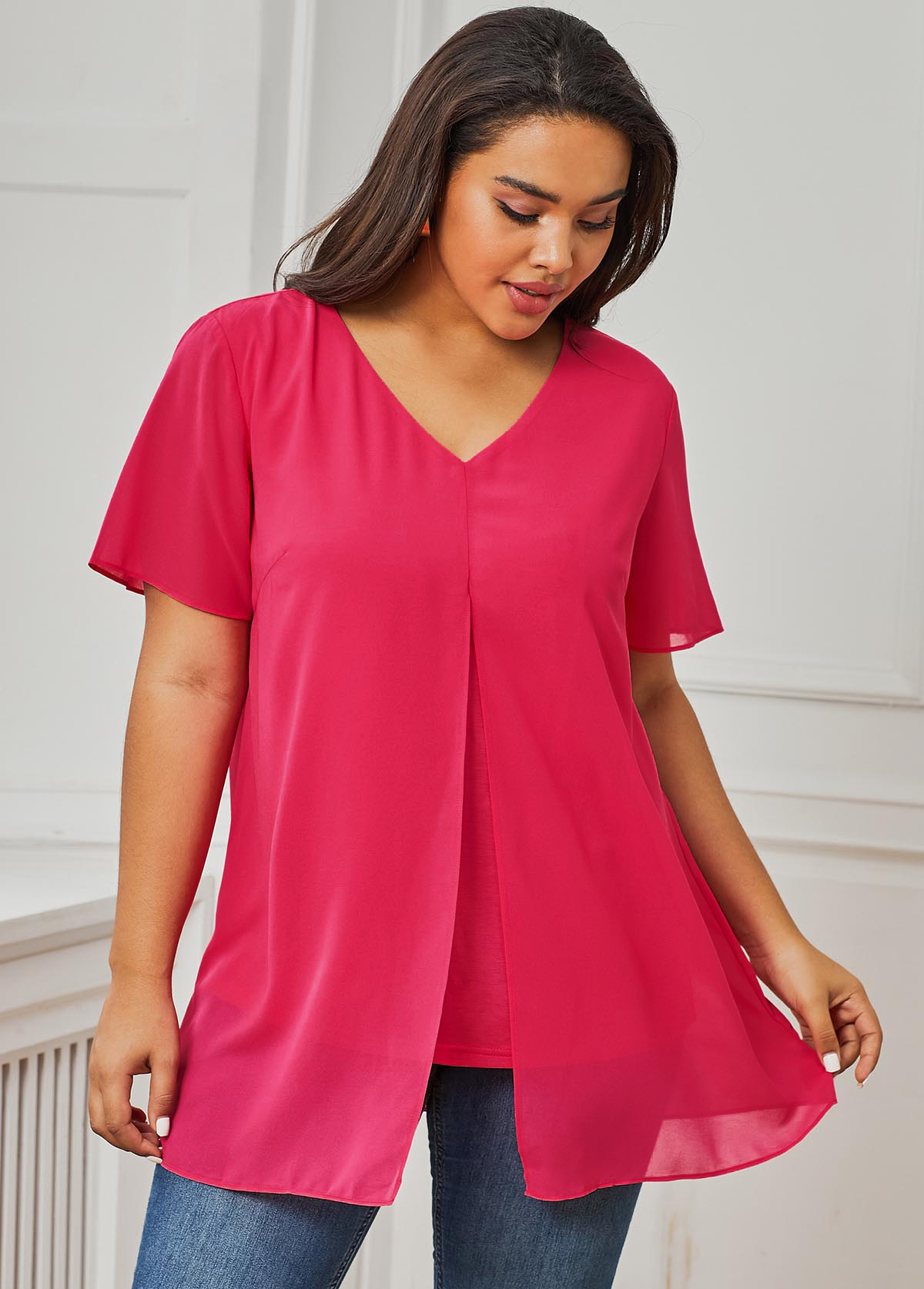 ROTITA V Neck Short Sleeve Pink Plus Size T Shirt