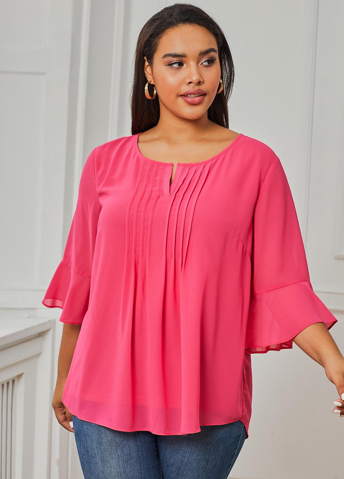 ROTITA Crinkle Chest Three Quarter Sleeve Pink Plus Size Blouse