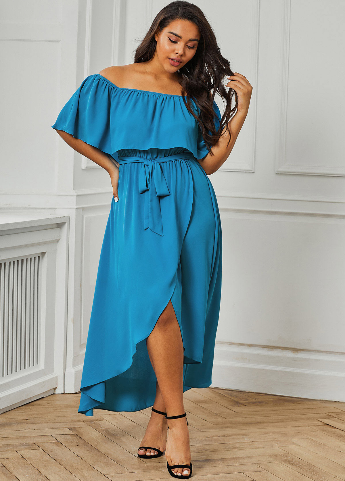 ROTITA Plus Size Crossover Hem Ruffle Overlay Dress