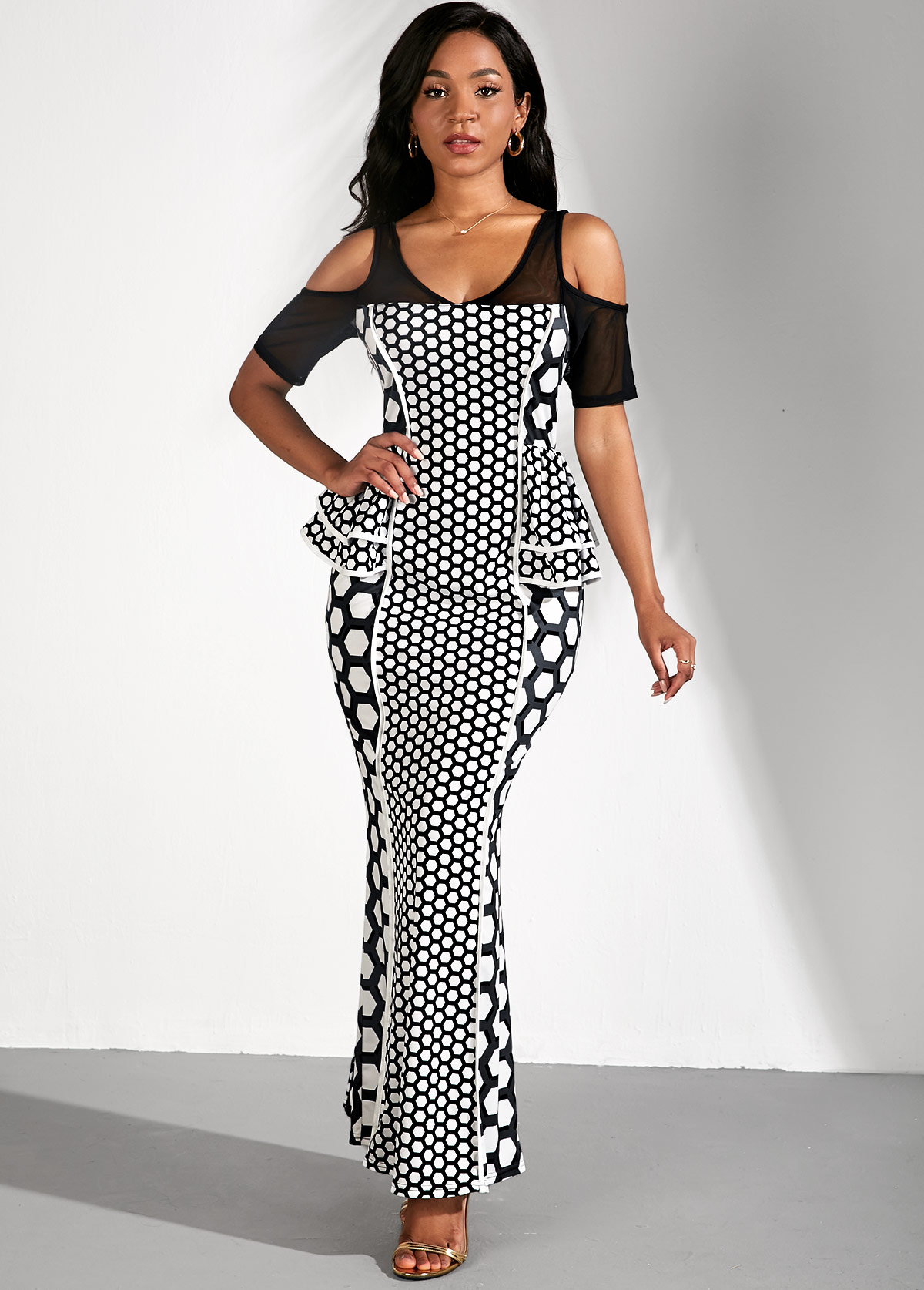 ROTITA Cold Shoulder Polka Dot Ruffle Trim Maxi Dress