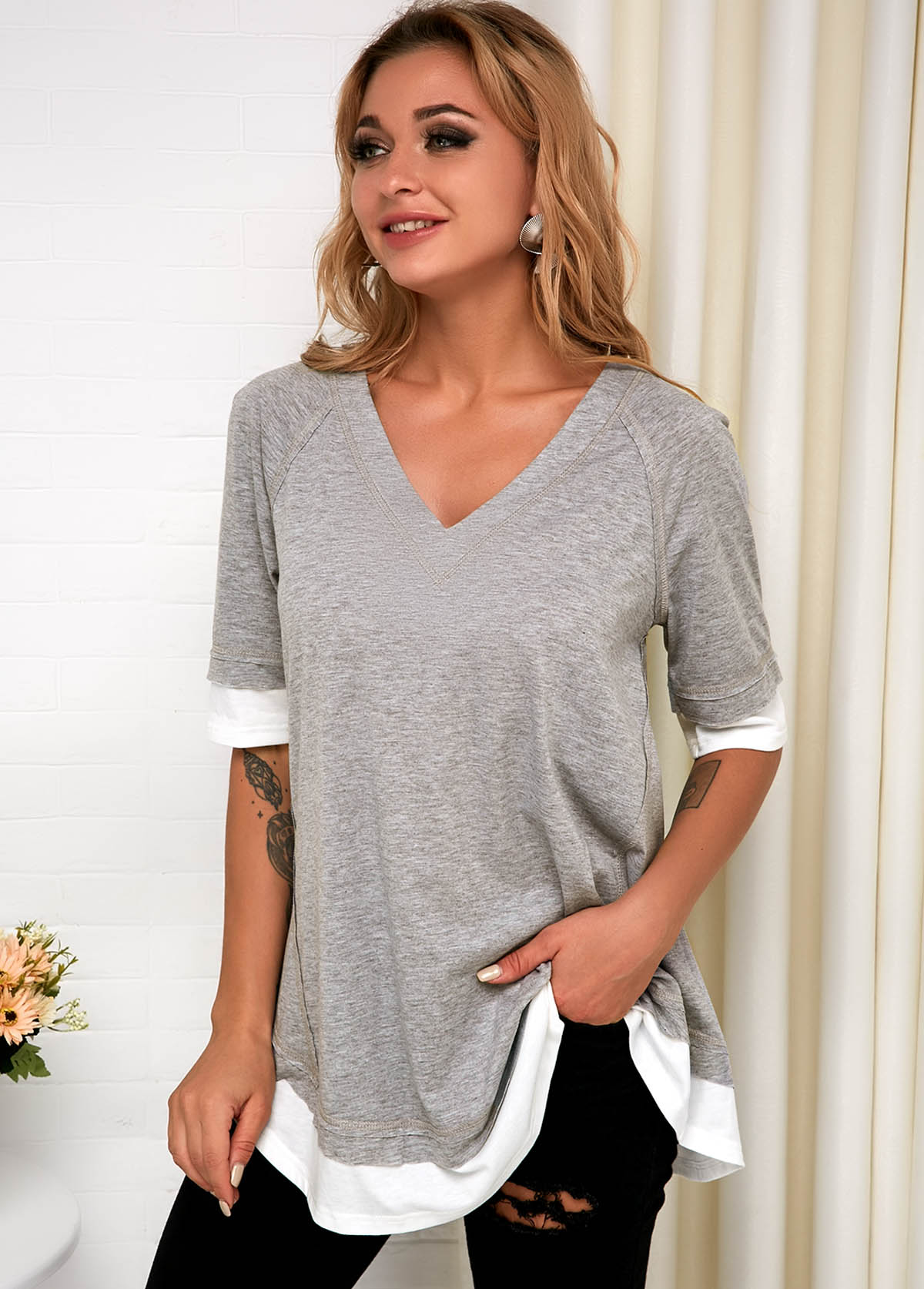 ROTITA Grey V Neck Faux Two Piece T Shirt