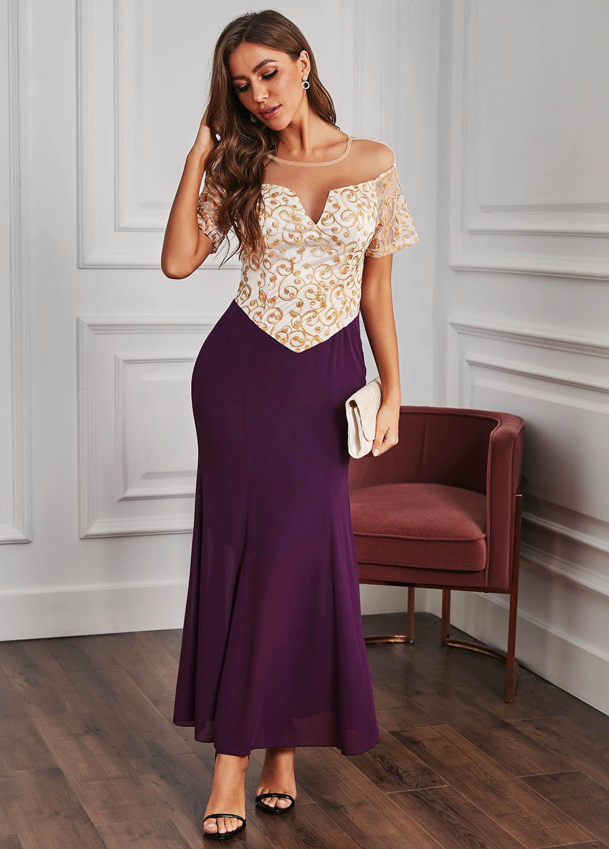 ROTITA Cutout Back Lace Stitching Short Sleeve Maxi Dress