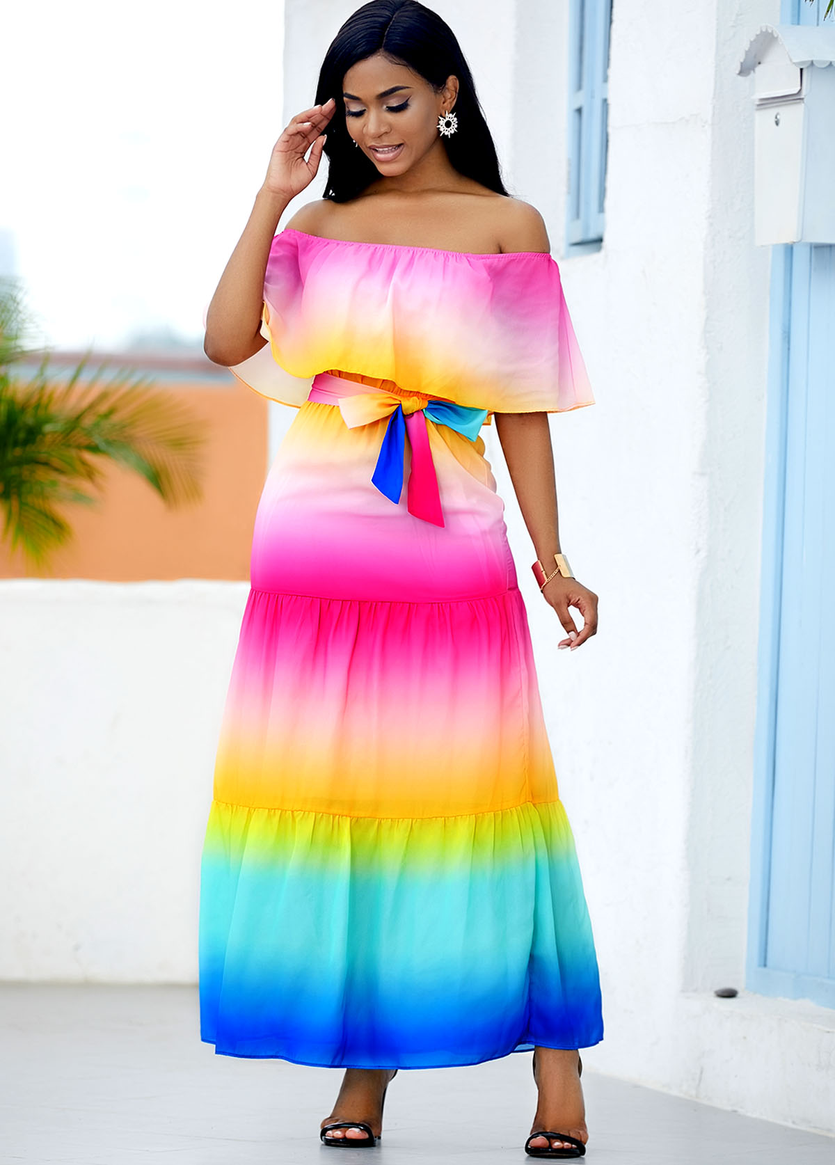 ROTITA Printed Rainbow Color Ruffle Overlay Maxi Dress
