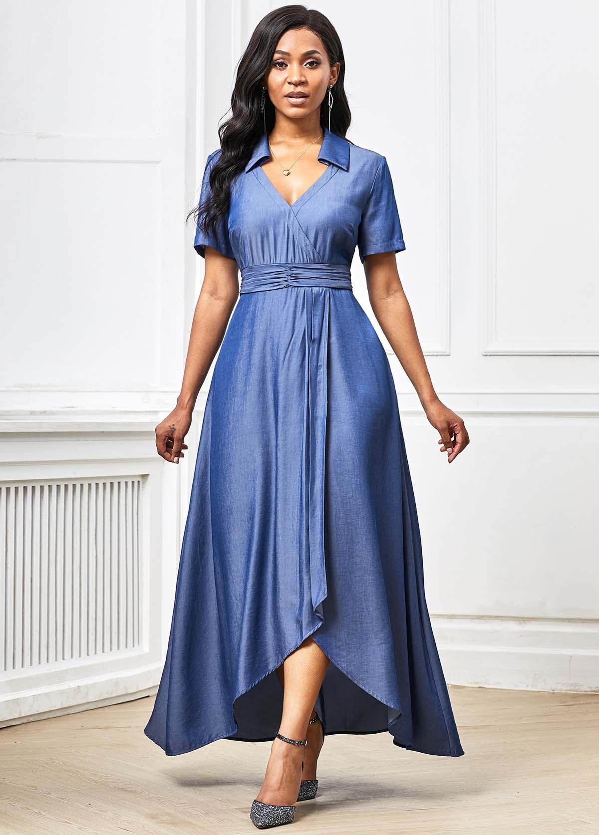 ROTITA Asymmetric Hem Short Sleeve Plunging Neck Maxi Dress